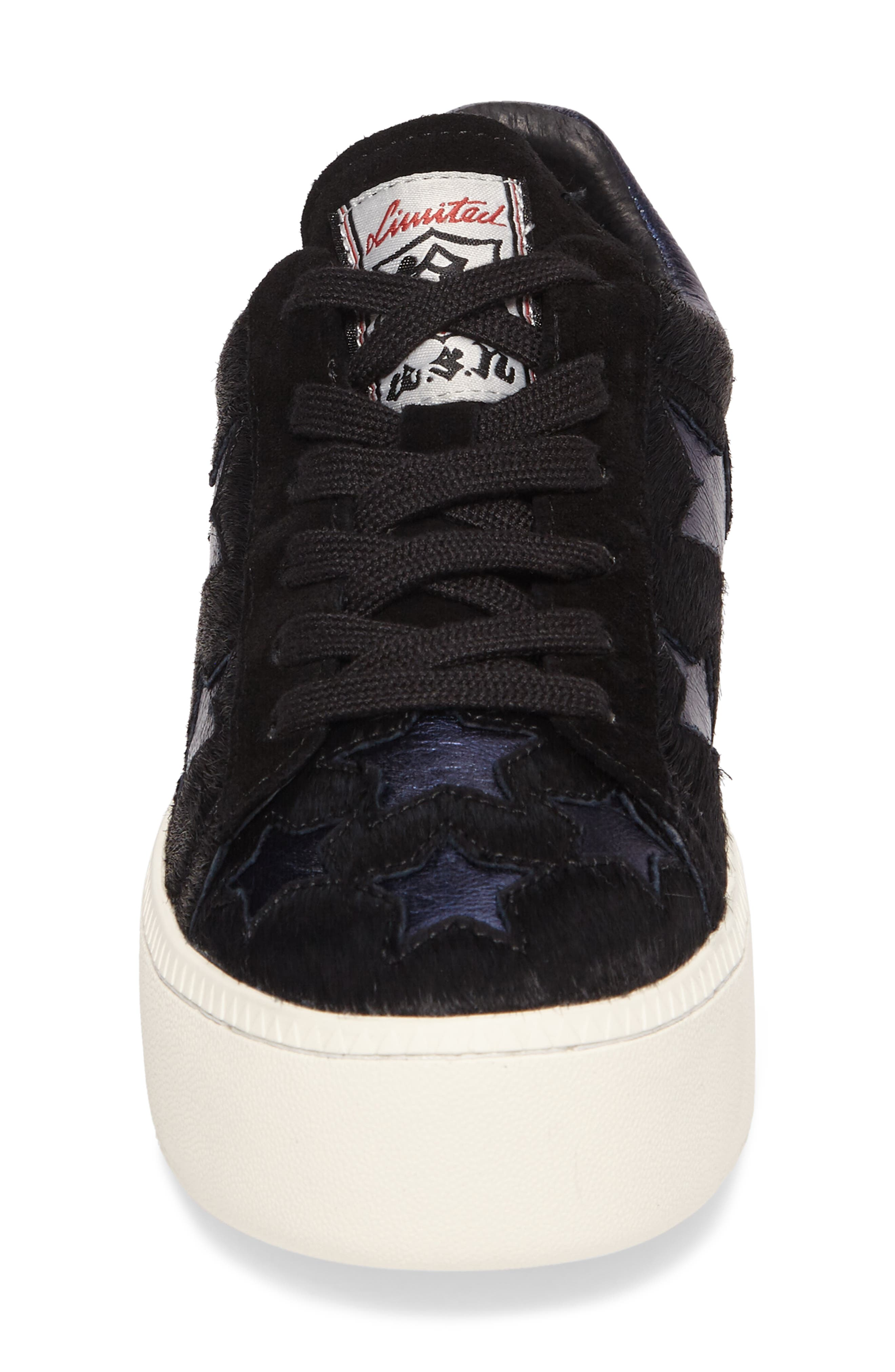 Cult Star Calf Hair Sneaker,                             Alternate thumbnail 4, color,                             001