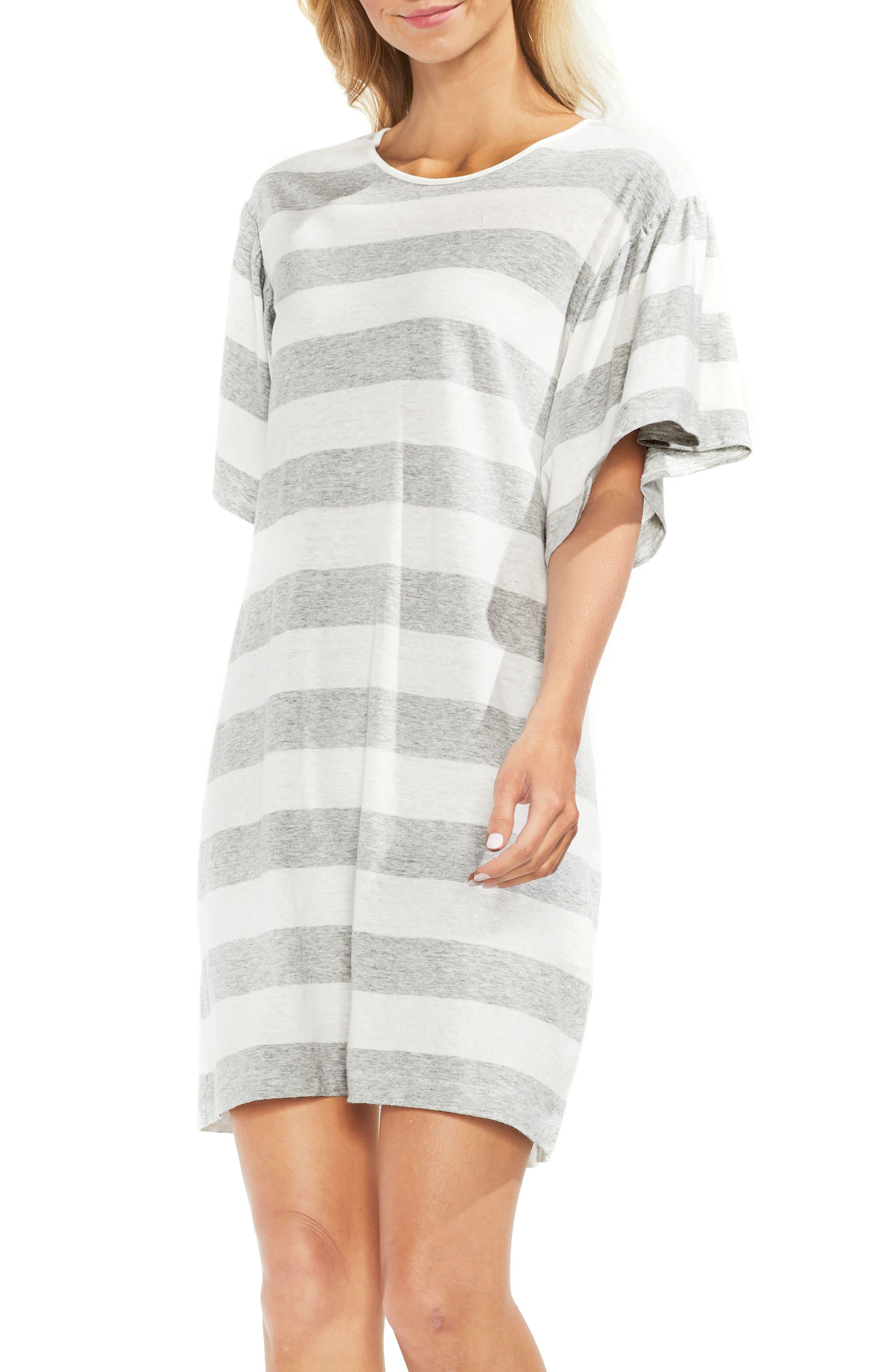 Ruffle Sleeve Stripe T-Shirt Dress,                             Alternate thumbnail 2, color,                             050