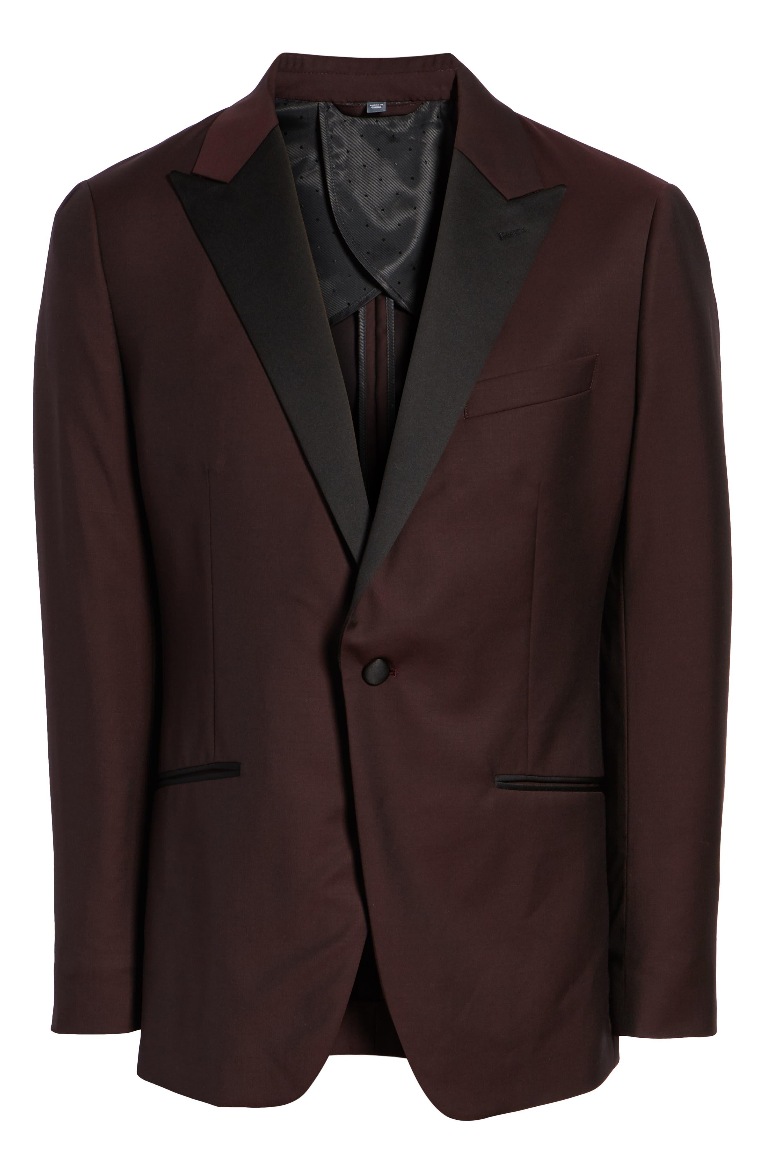 Capstone Slim Fit Italian Wool Dinner Jacket,                             Alternate thumbnail 5, color,                             MAROON