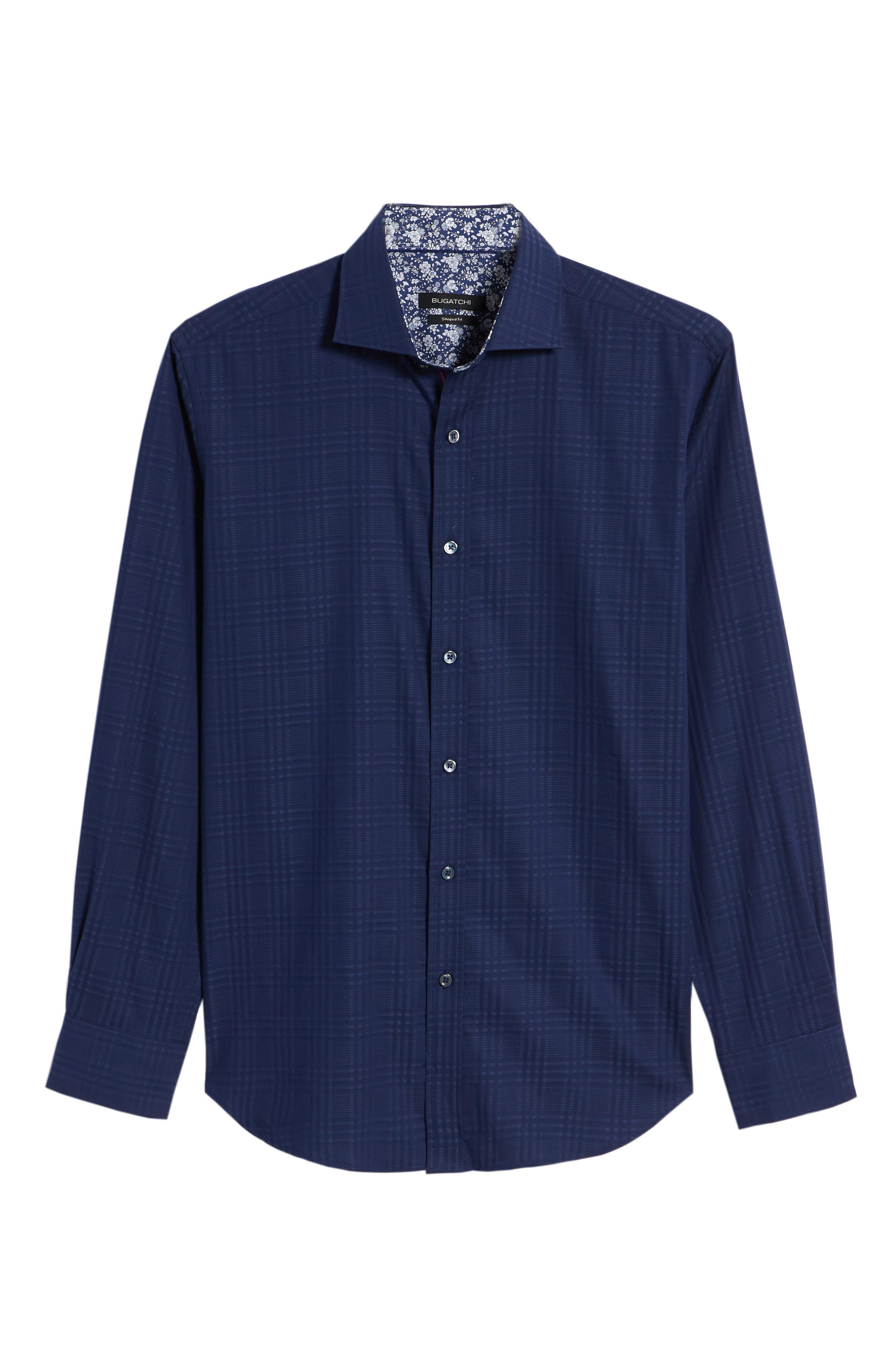 Shaped Fit Tonal Plaid Sport Shirt,                             Alternate thumbnail 6, color,                             MIDNIGHT