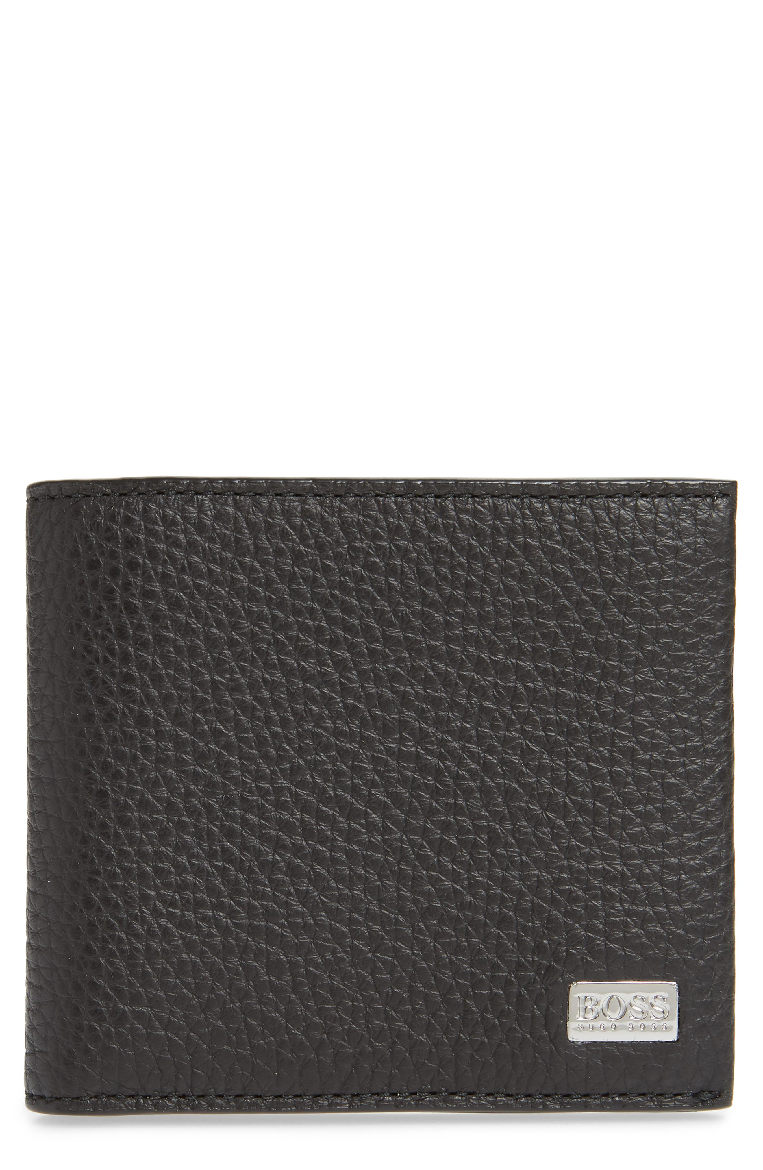 Crosstown 8-Card Leather Wallet,                             Main thumbnail 1, color,                             BLACK