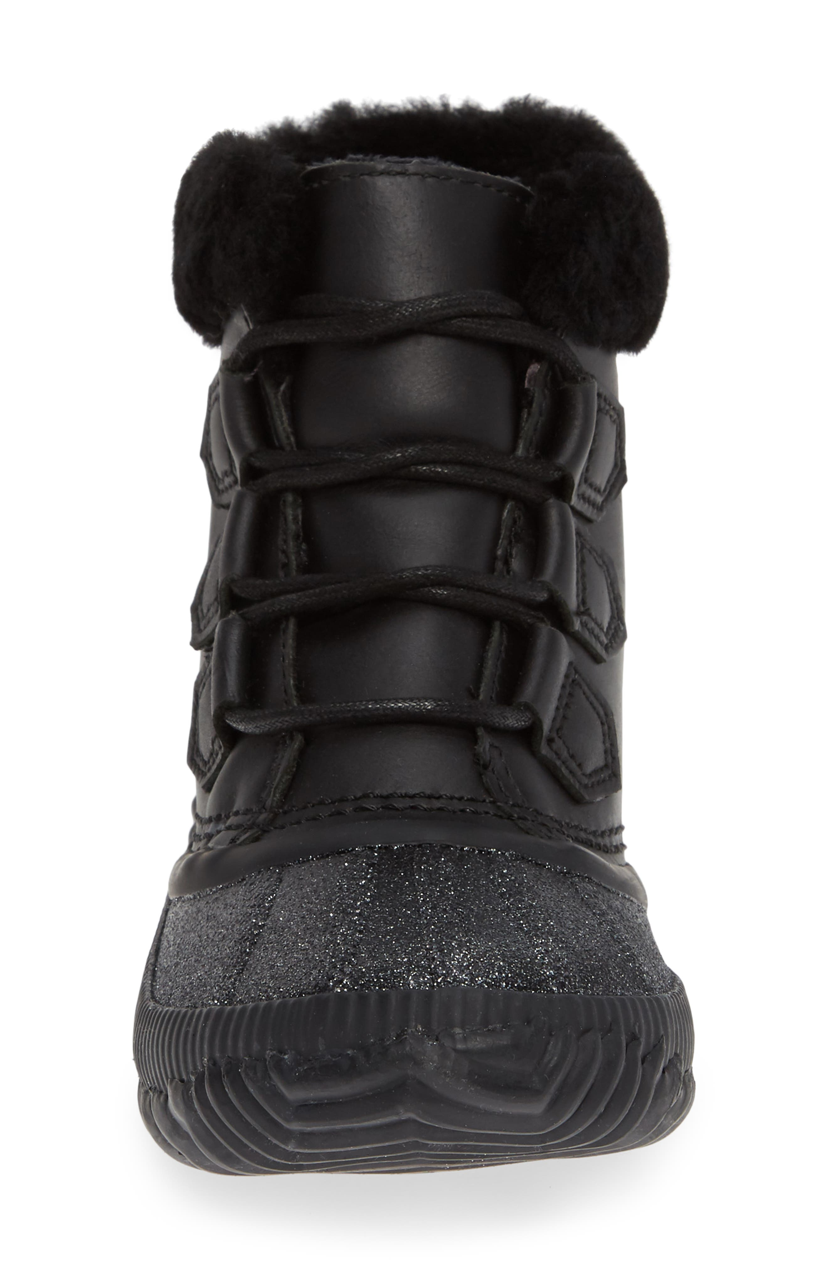 Out N About Plus Lux Waterproof Boot with Genuine Shearling Trim,                             Alternate thumbnail 4, color,                             BLACK