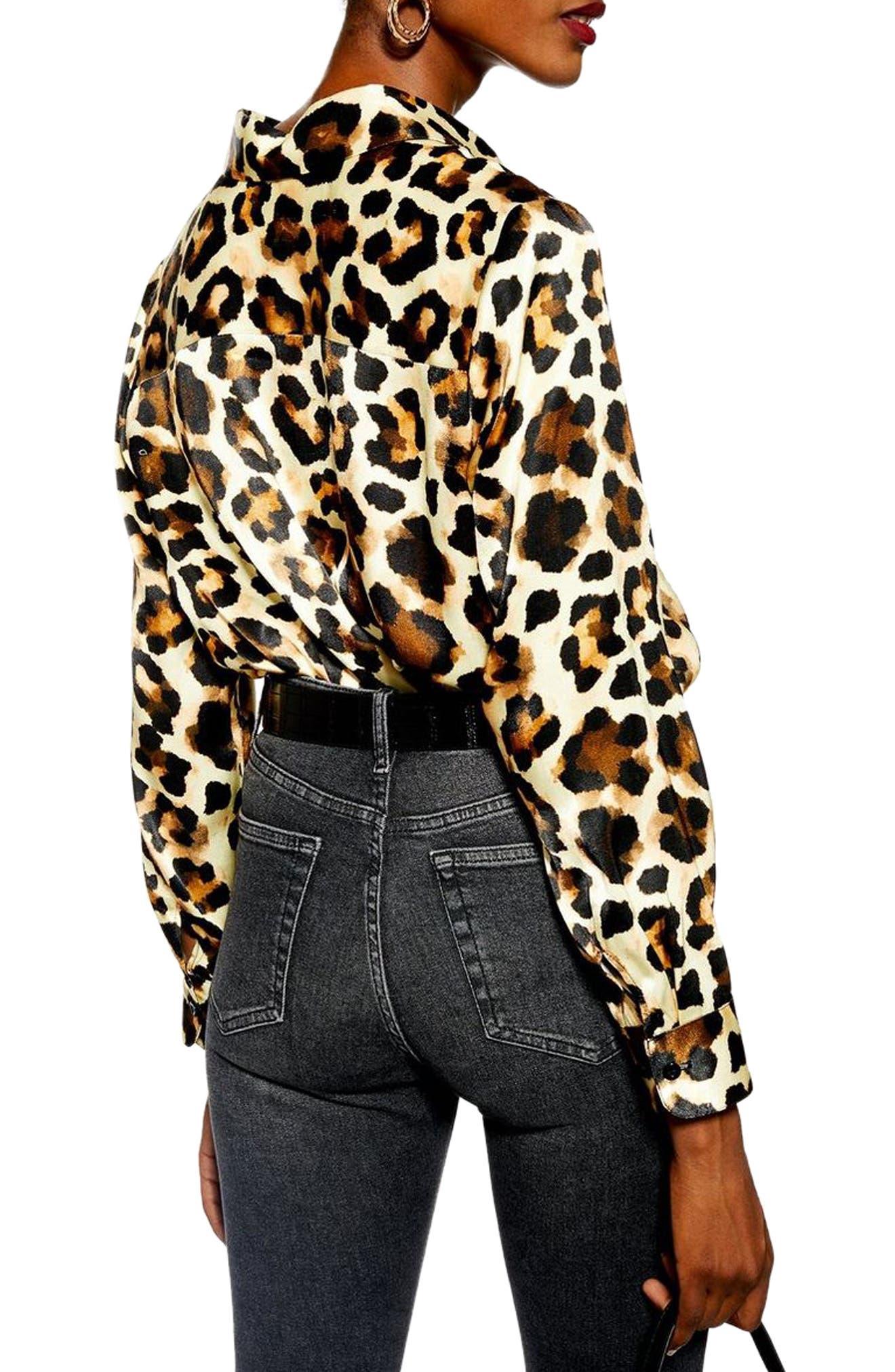 Leopard Print Shirt,                             Alternate thumbnail 2, color,                             BROWN MULTI