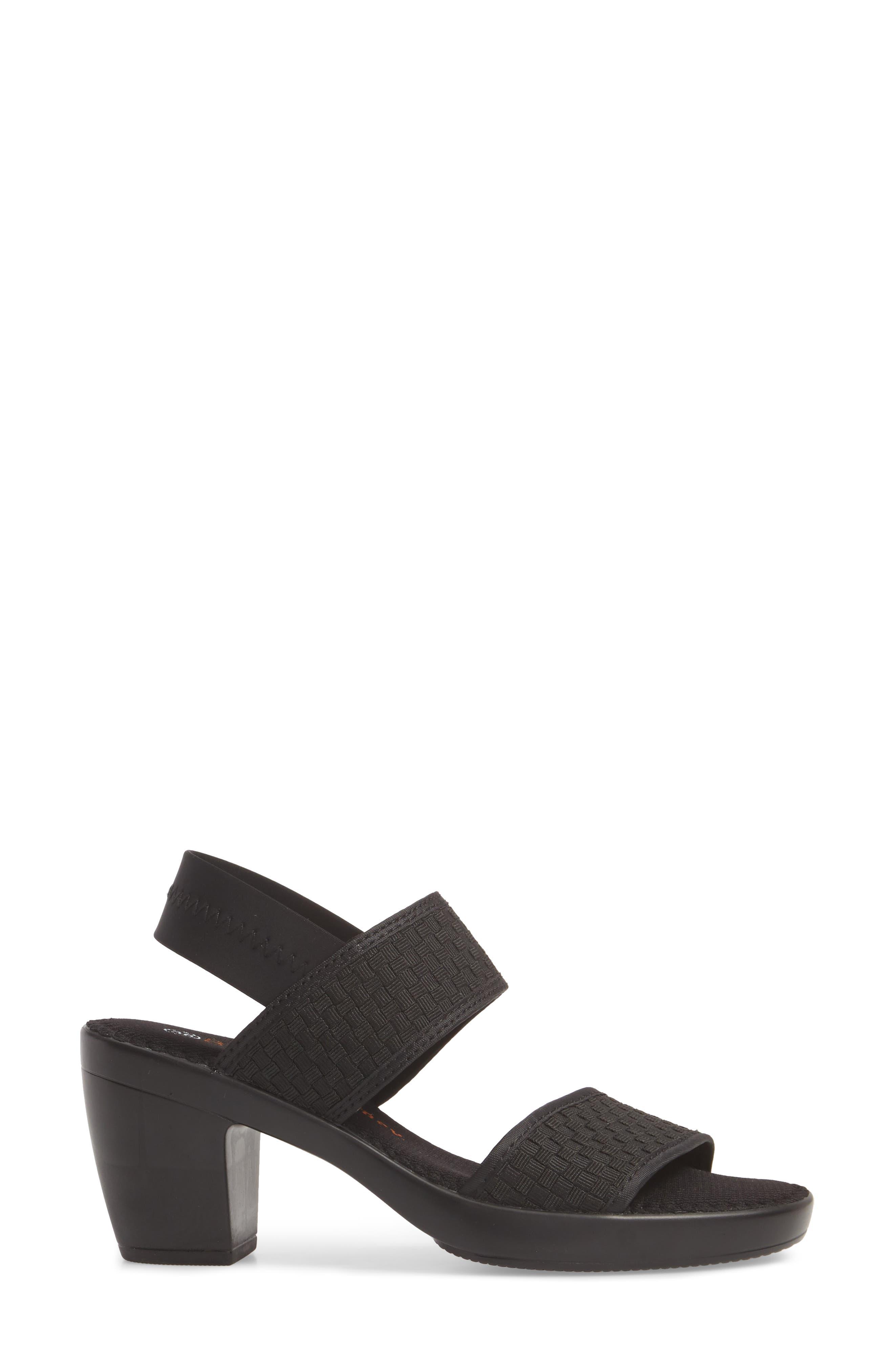 Santorini Sandal,                             Alternate thumbnail 3, color,                             BLACK FABRIC