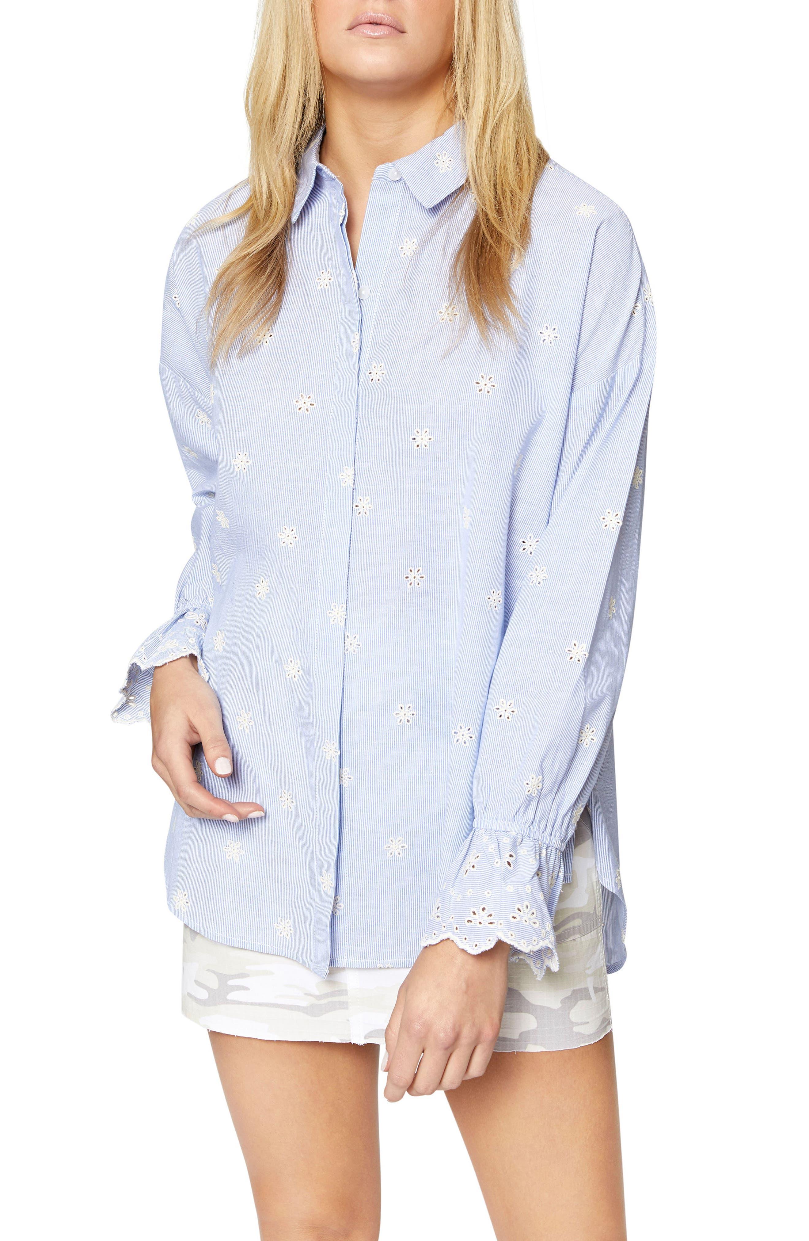 Hazel Boy Eyelet Shirt,                             Main thumbnail 1, color,                             BABY TICKING STRIPE