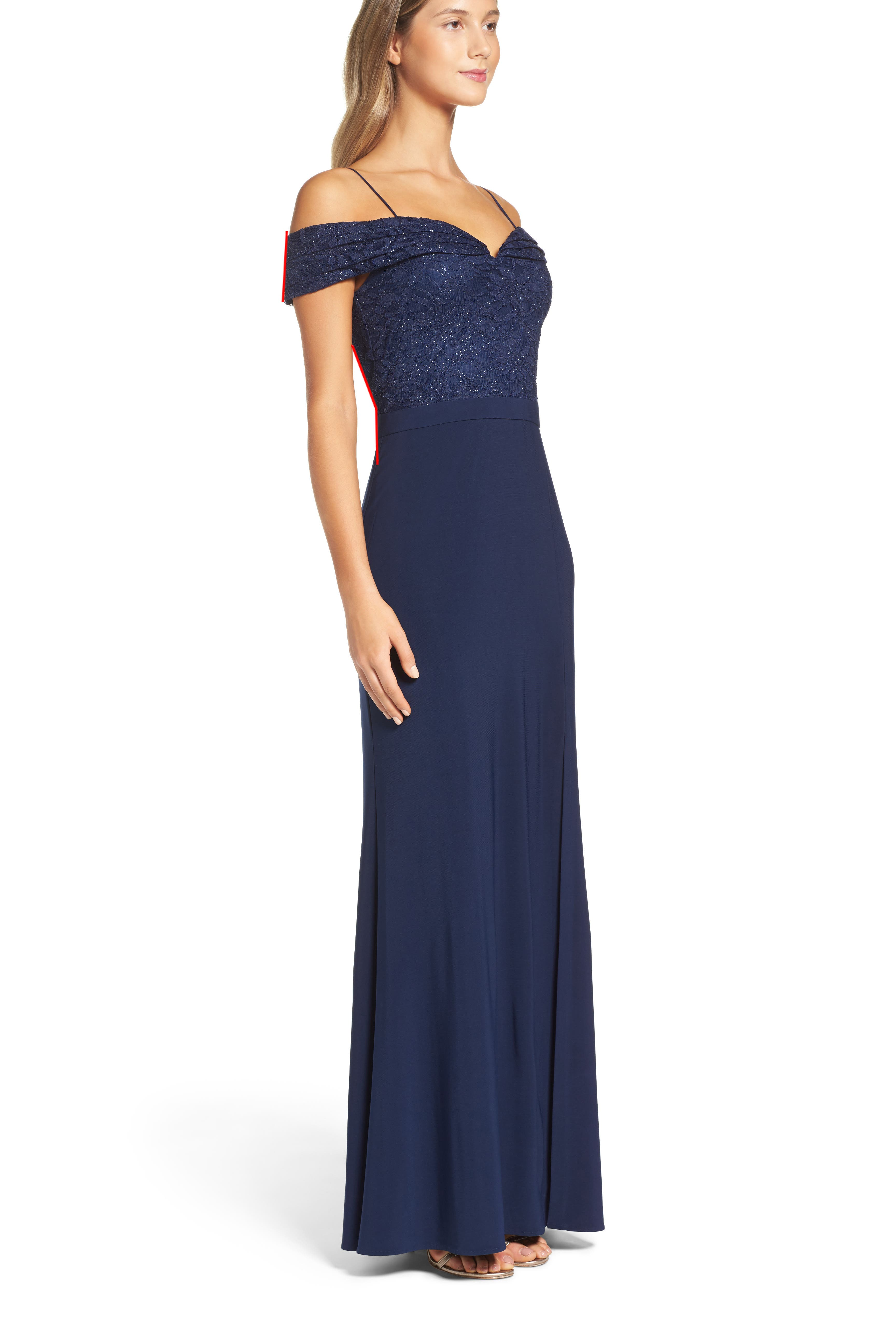 Sparkle Off the Shoulder Gown,                         Main,                         color, NAVY