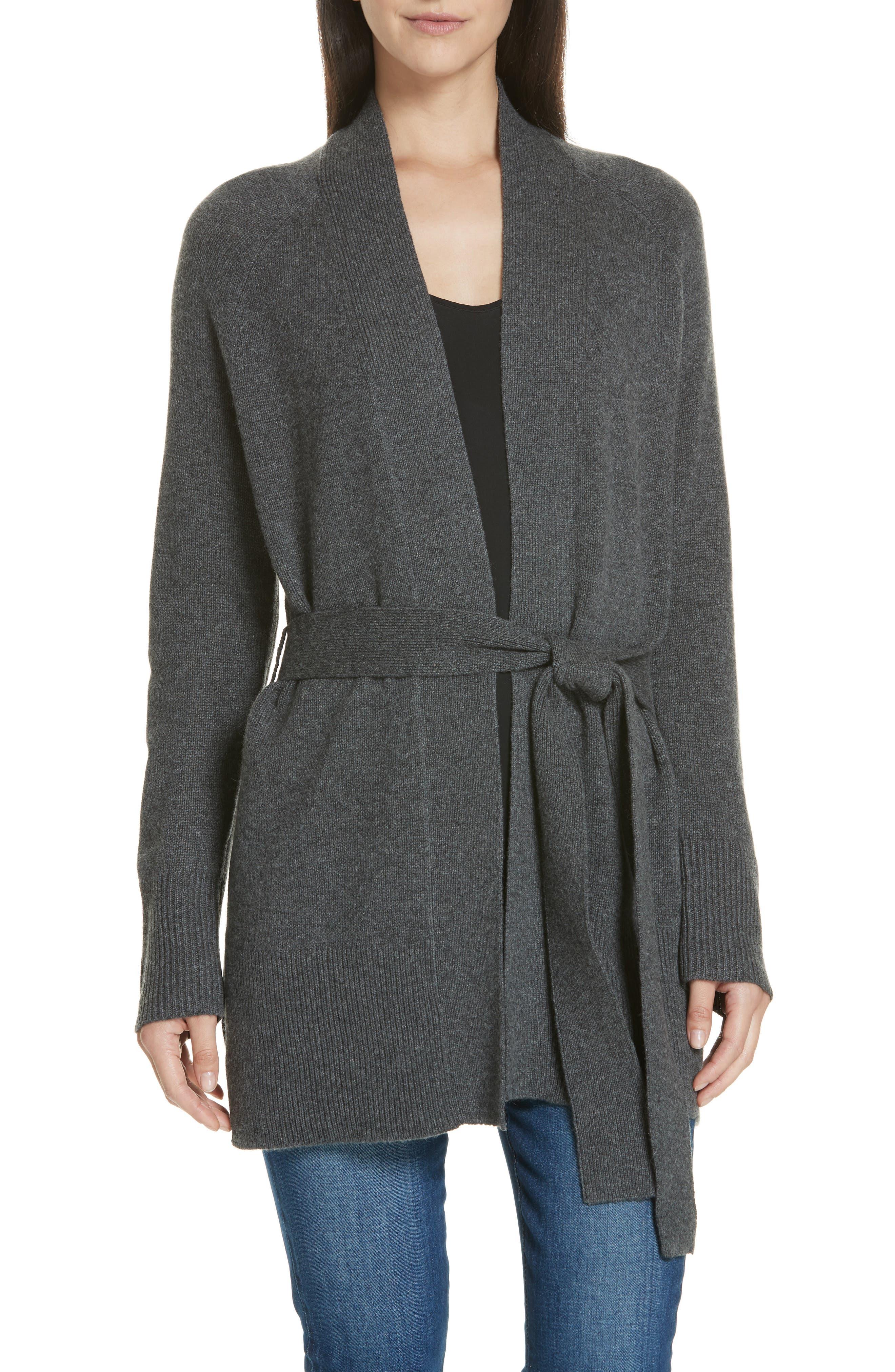 Malinka O Cashmere Tie Waist Cardigan,                         Main,                         color, 020