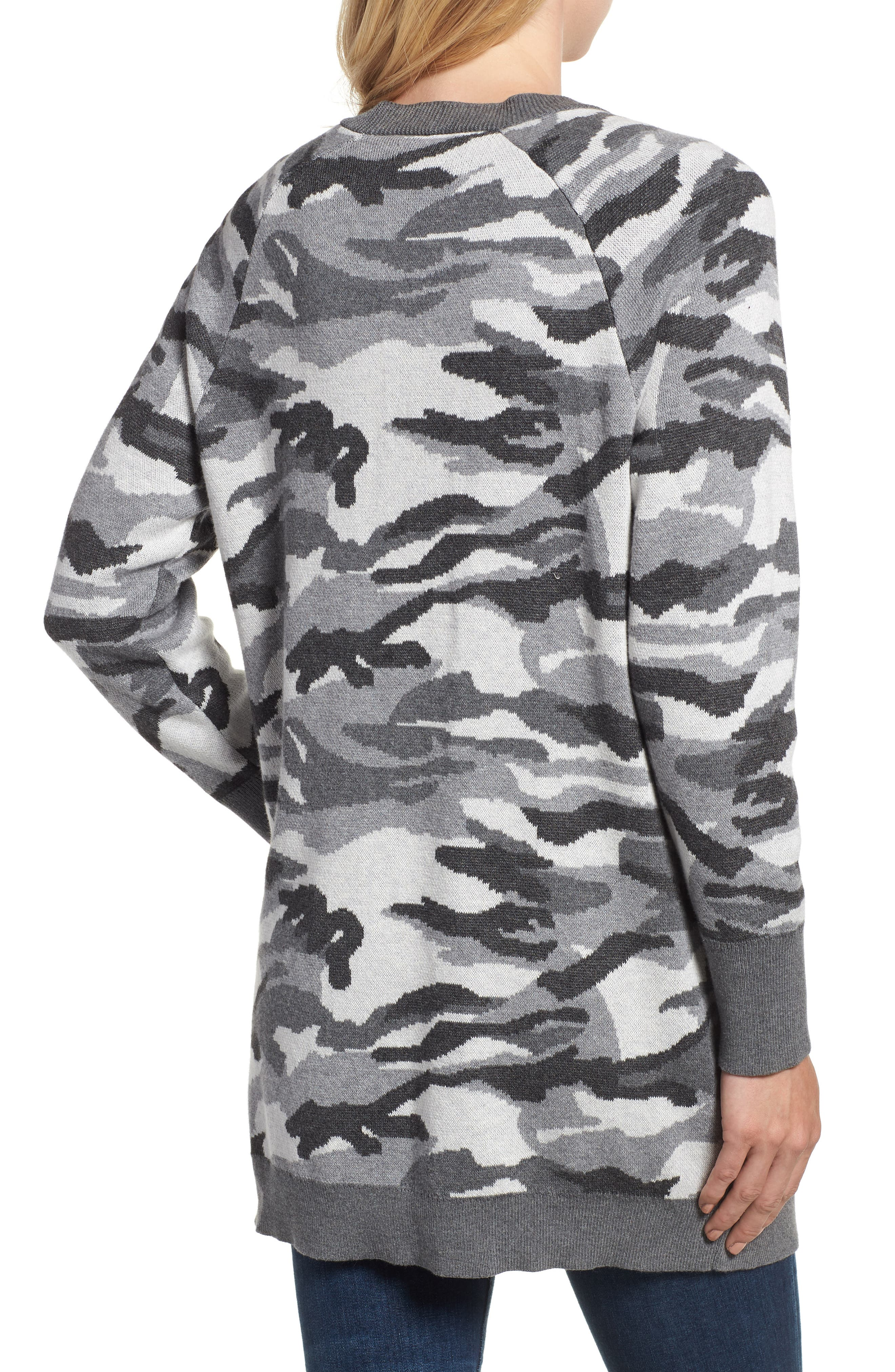 Button Front Camo Cardigan,                             Alternate thumbnail 2, color,                             026