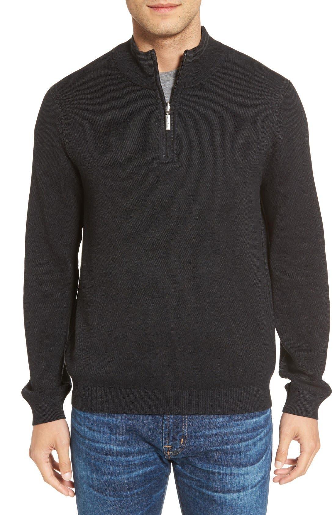Make Mine a Double Reversible Quarter Zip Sweater,                             Alternate thumbnail 2, color,                             001
