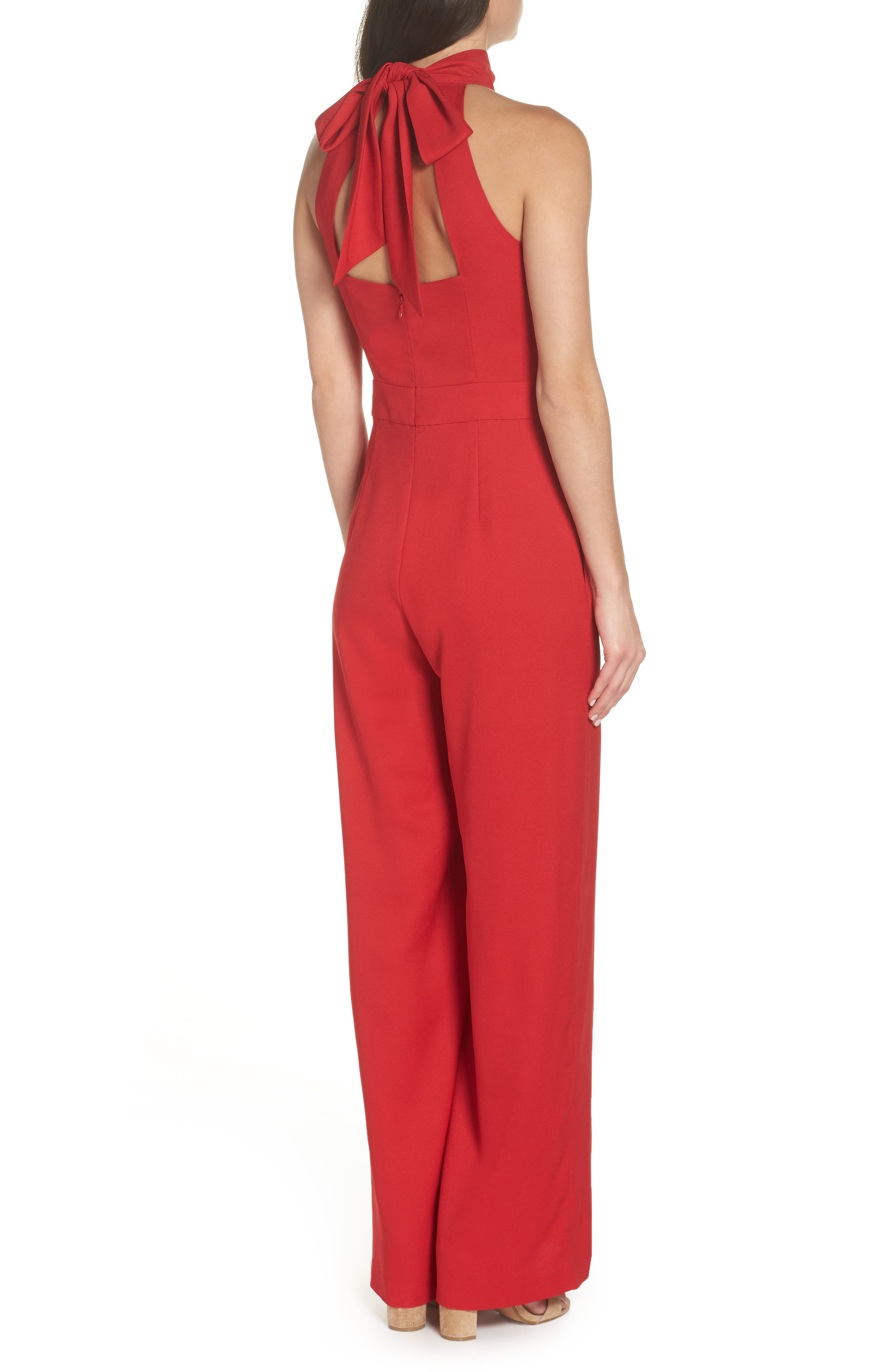 CHELSEA28, Tie Back Jumpsuit, Alternate thumbnail 2, color, RED LIPSTICK