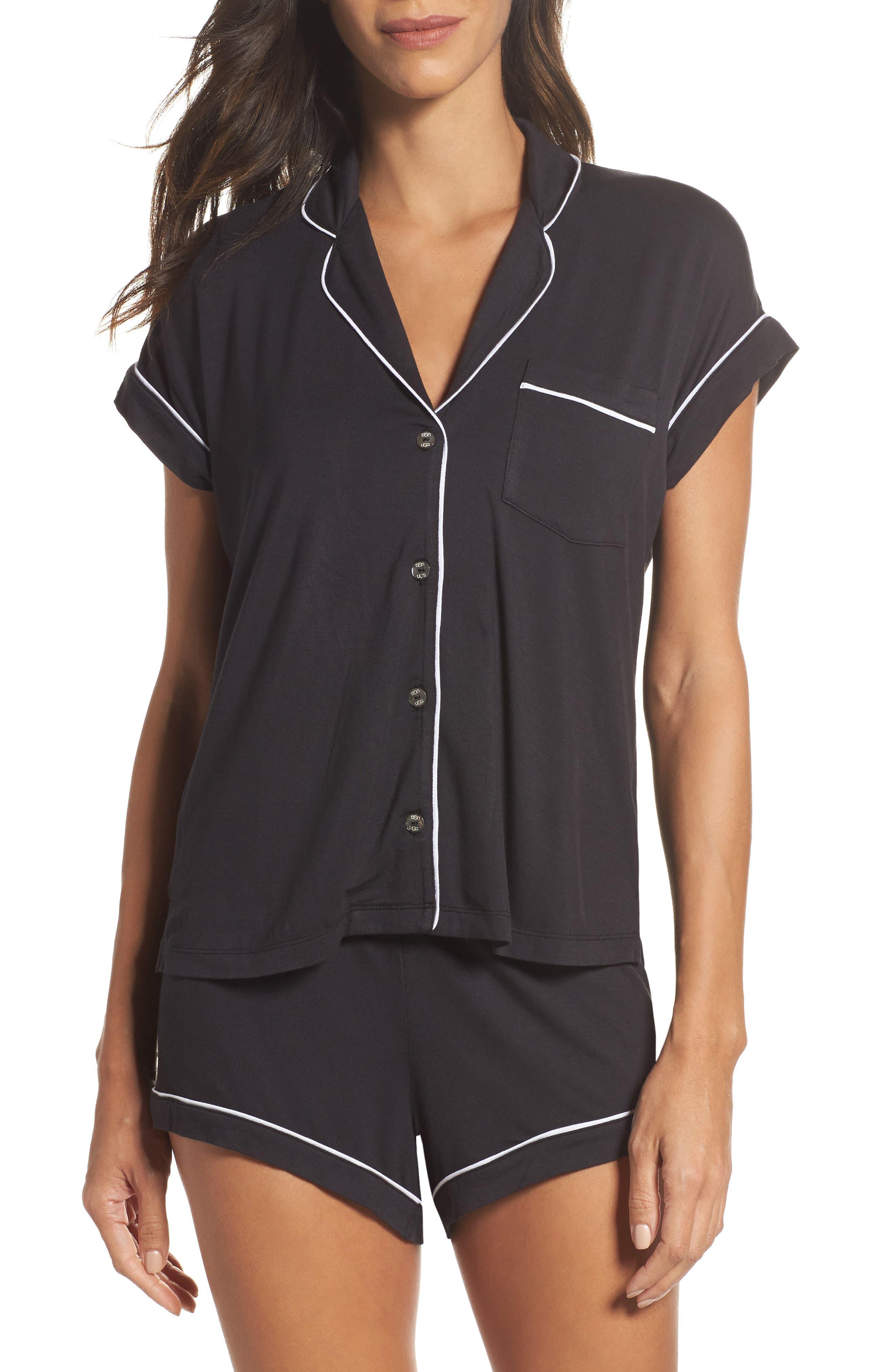 Amelia Short Pajamas,                             Main thumbnail 1, color,                             BLACK