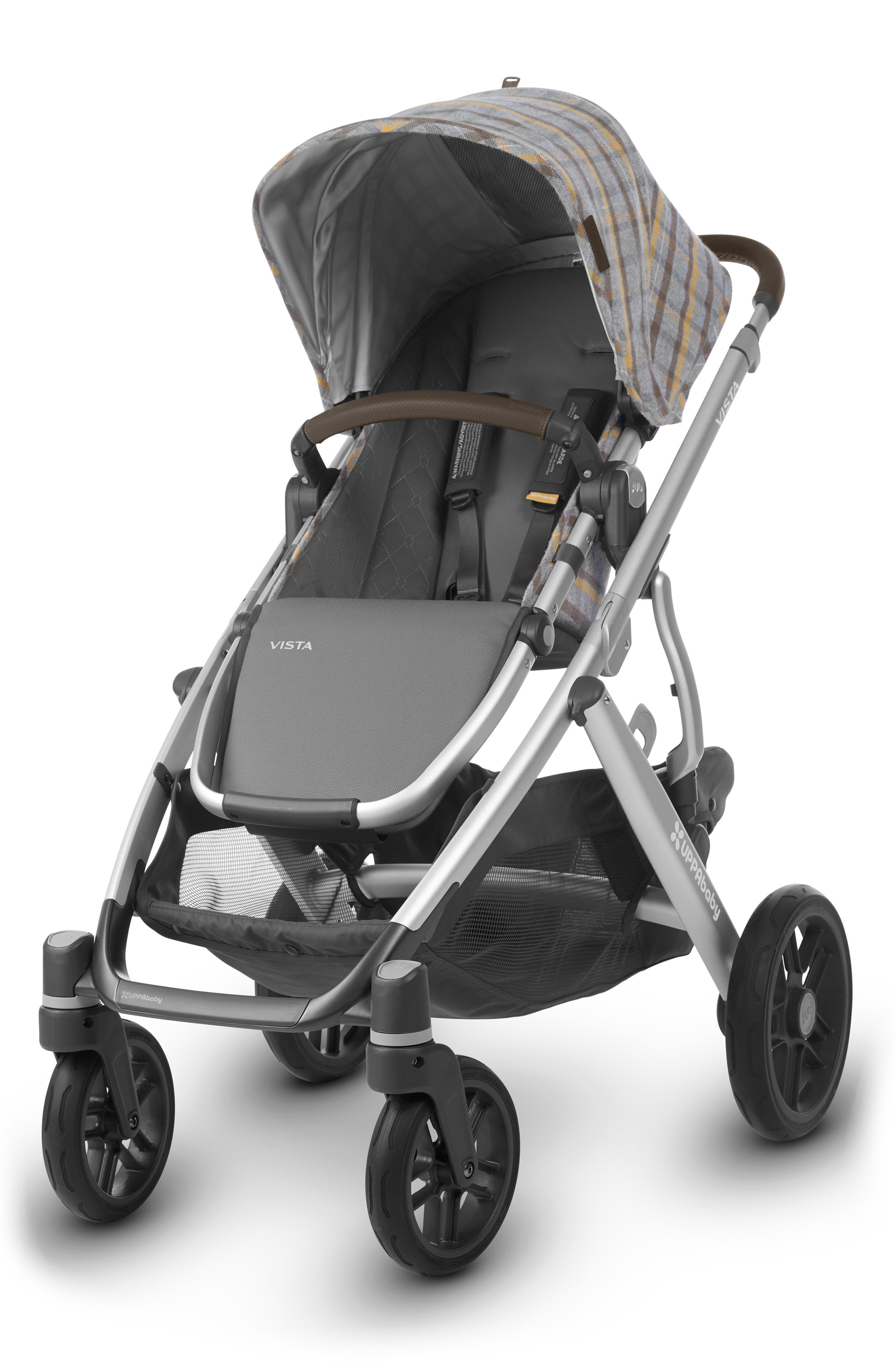VISTA Spenser Convertible Stroller with Bassinet & Toddler Seat,                             Alternate thumbnail 4, color,                             GREY/ YELLOW TARTAN