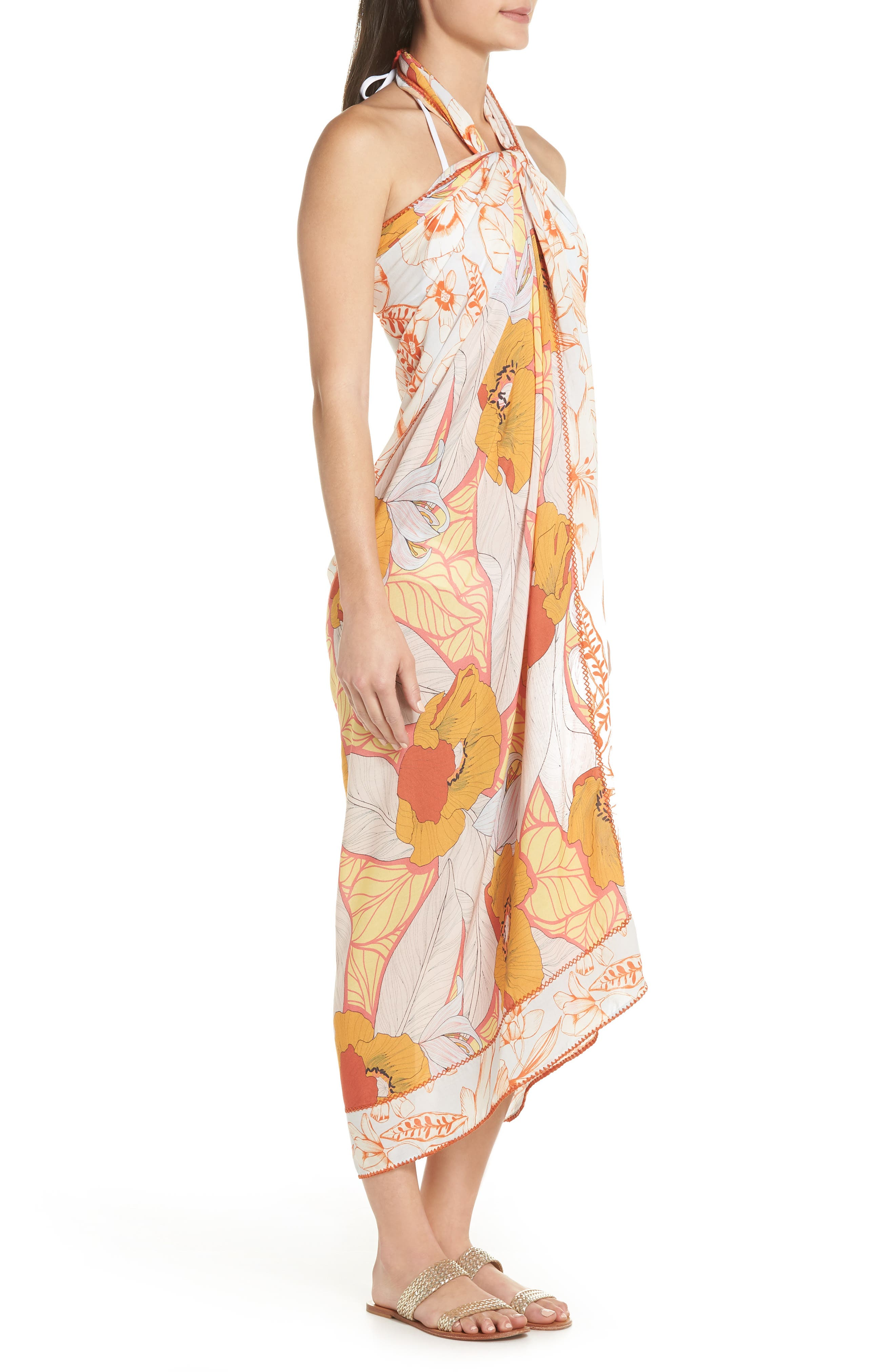 Mellow Yellow Leaf Pattern Pareo Cover-Up,                             Alternate thumbnail 6, color,                             700