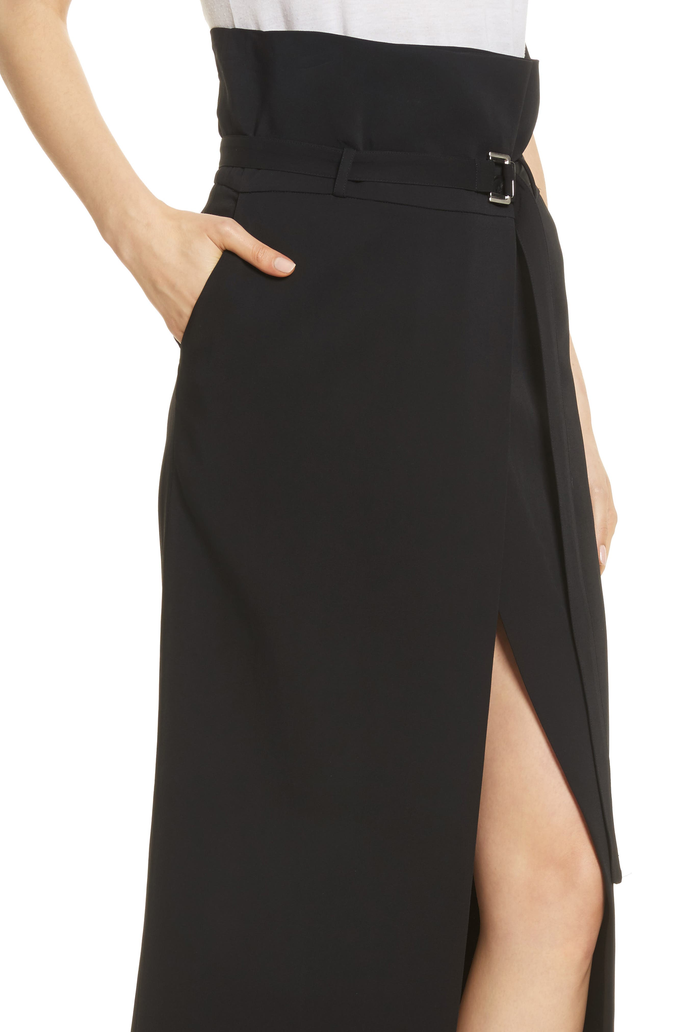 Paperbag Waist Split Front Skirt,                             Alternate thumbnail 4, color,                             001
