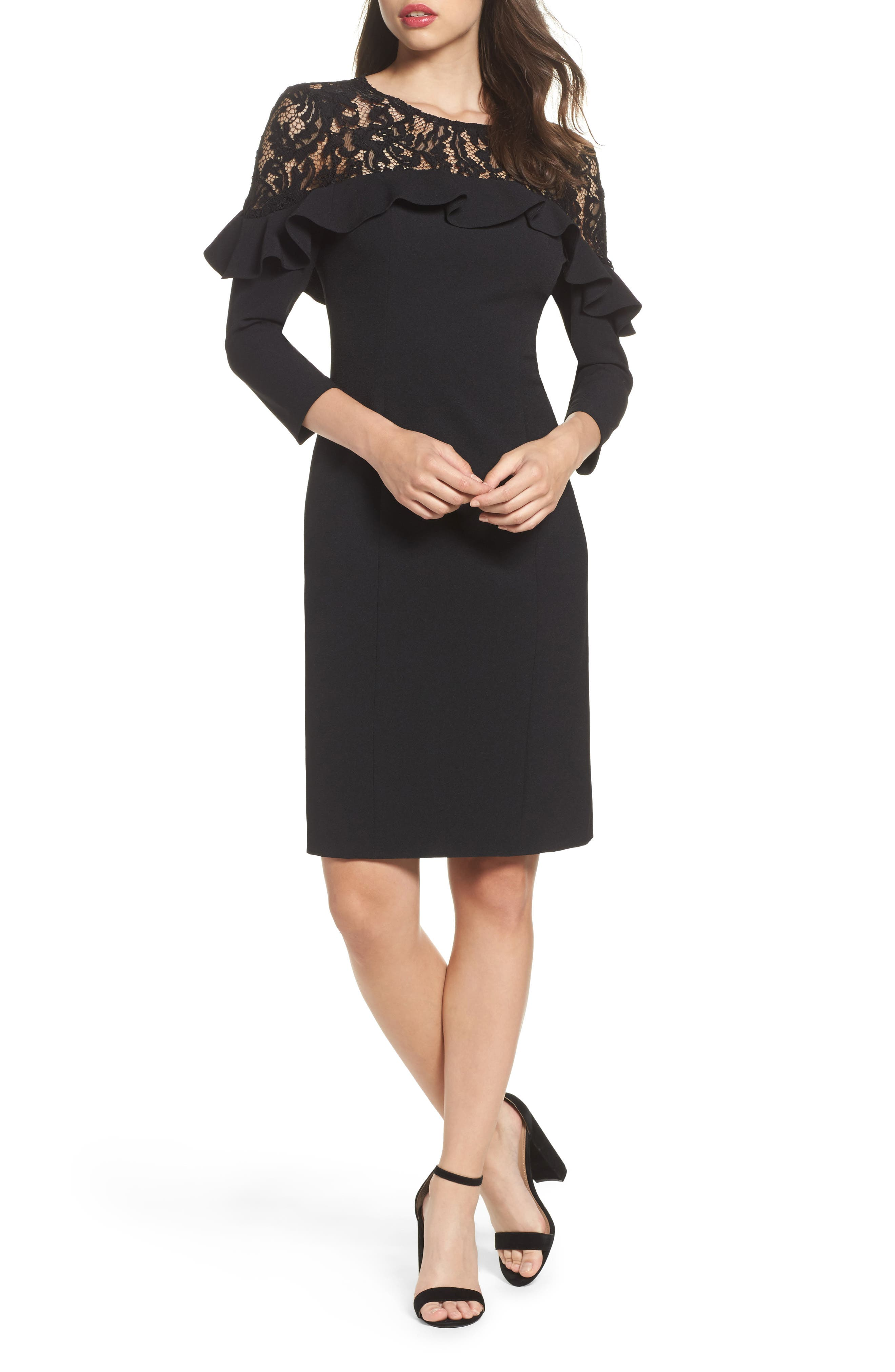 Lace Yoke Sheath Dress,                             Main thumbnail 1, color,                             001