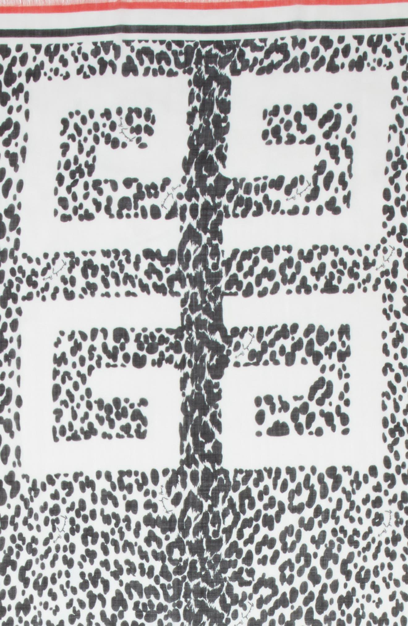4G Leopard Cashmere & Silk Scarf,                             Alternate thumbnail 4, color,                             BLACK/ WHITE