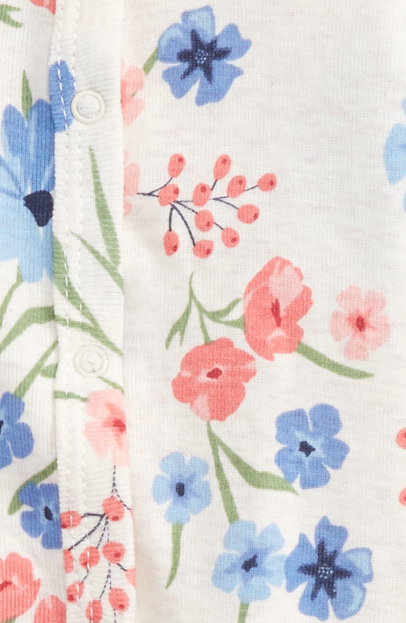 Floral Print Footie & Hat Set,                             Main thumbnail 1, color,                             900
