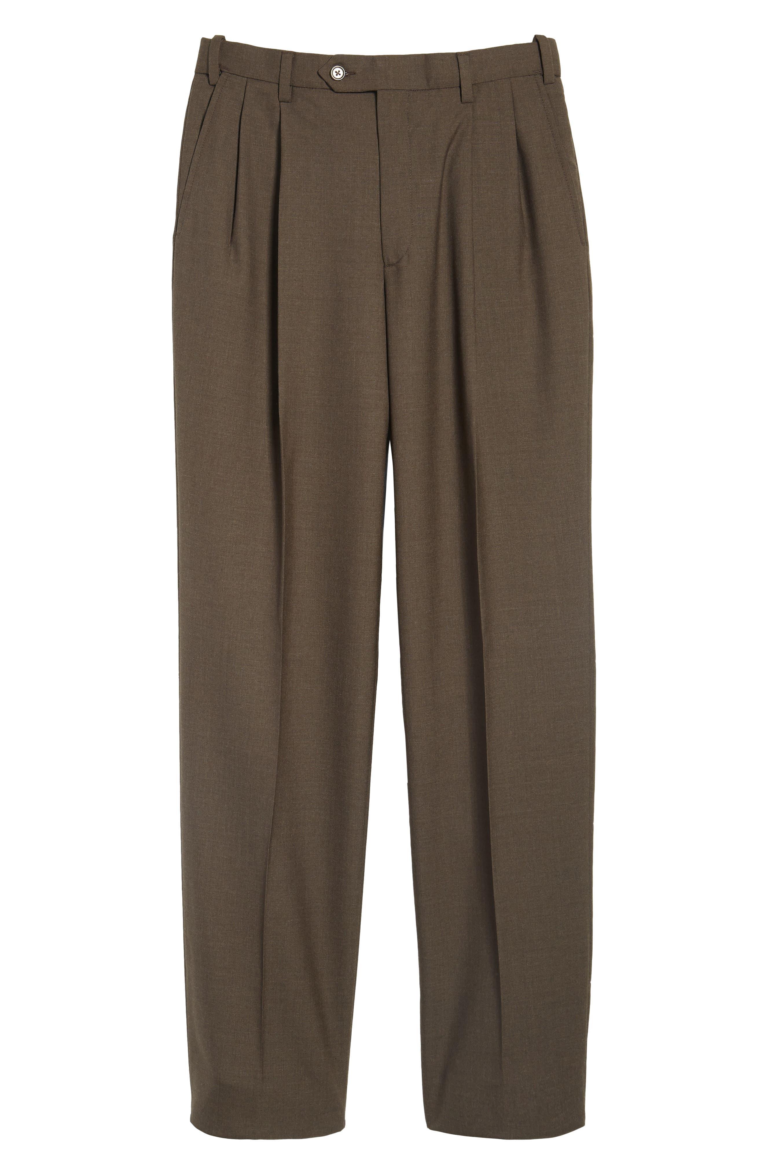 Self Sizer Waist Pleated Wool Gabardine Trousers,                             Alternate thumbnail 6, color,                             BROWN