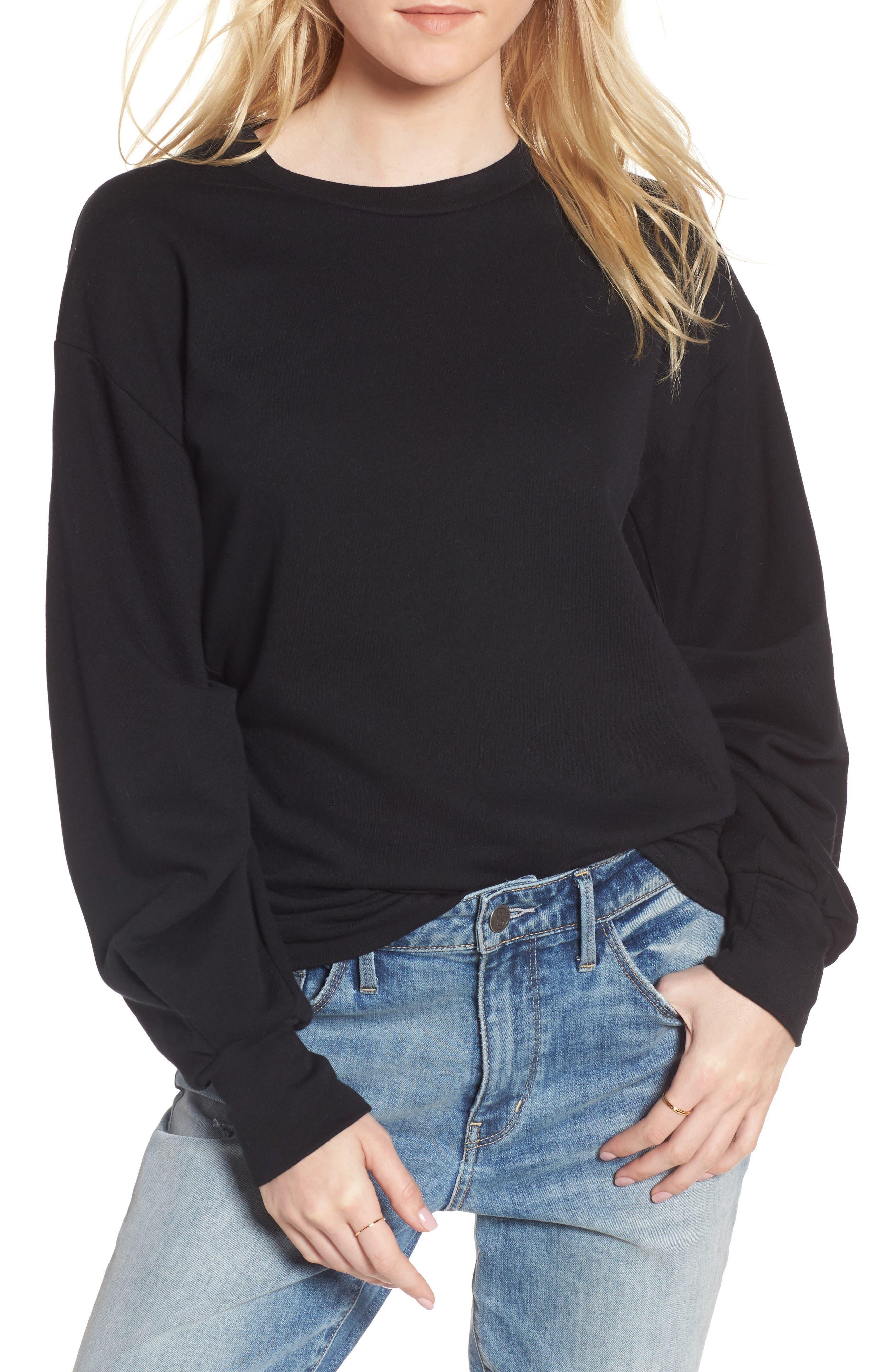 Pleated Sleeve Sweatshirt,                         Main,                         color, 001