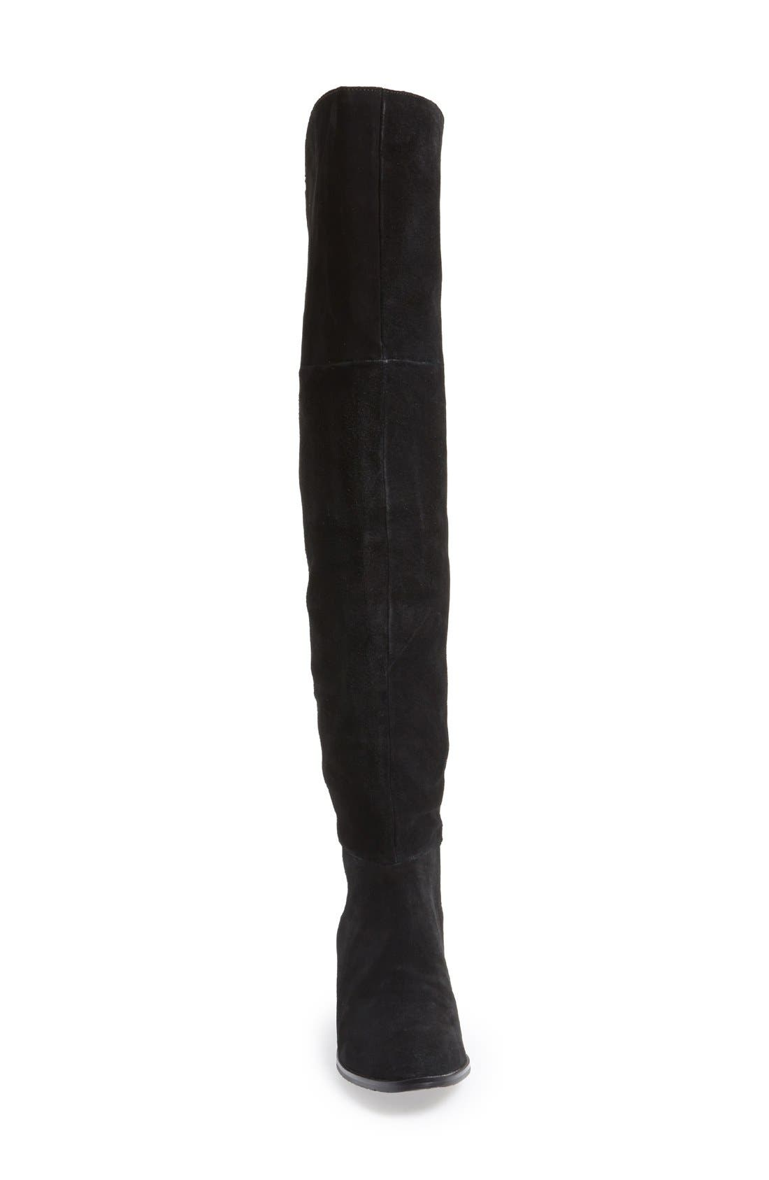 'Riley' Stretch Back Suede Over The Knee Boot,                             Alternate thumbnail 4, color,                             001