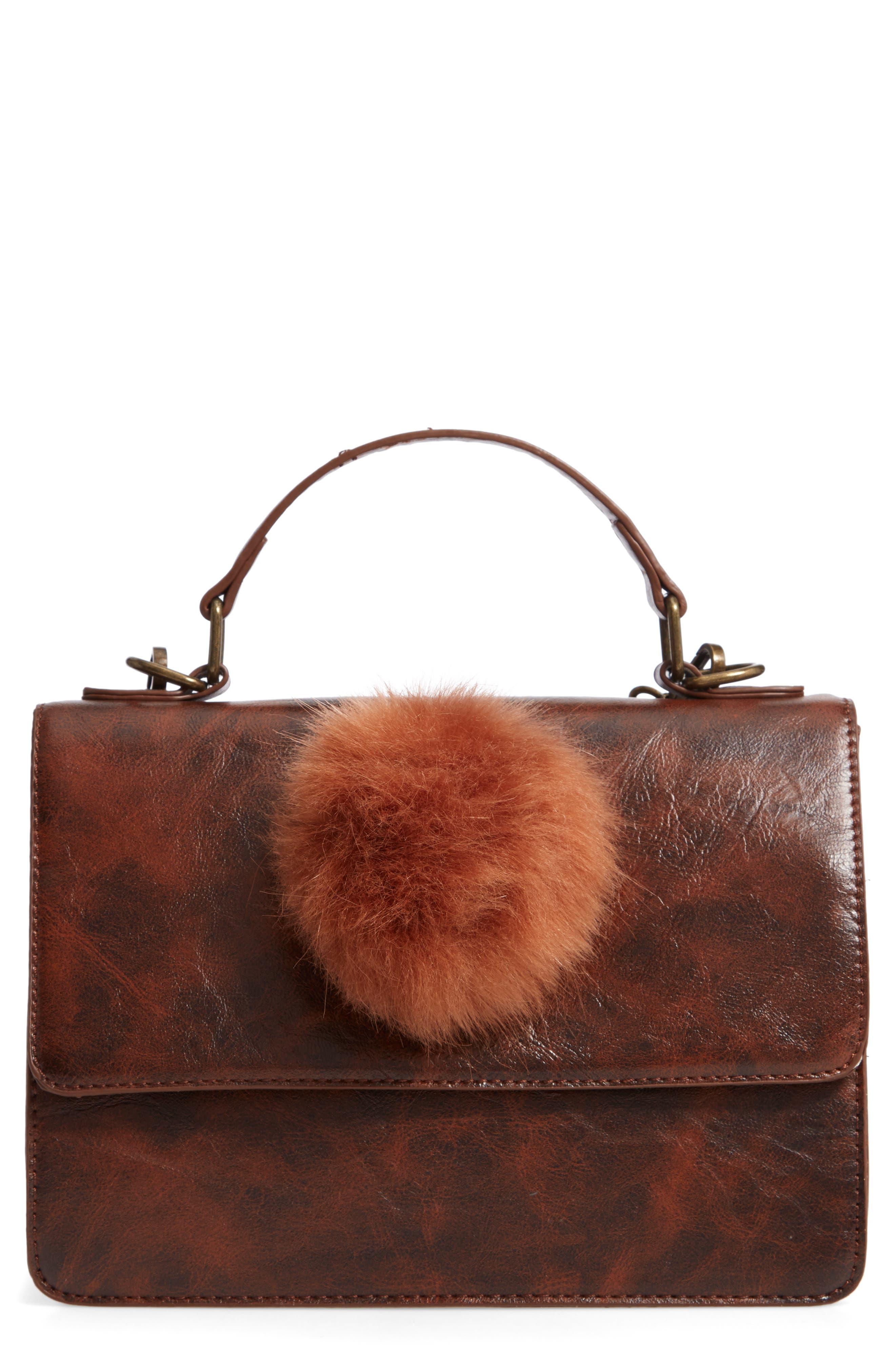 MUCHE ET MUCHETTE,                             Eleanor Faux Leather Satchel with Faux Fur Pom,                             Main thumbnail 1, color,                             BROWN