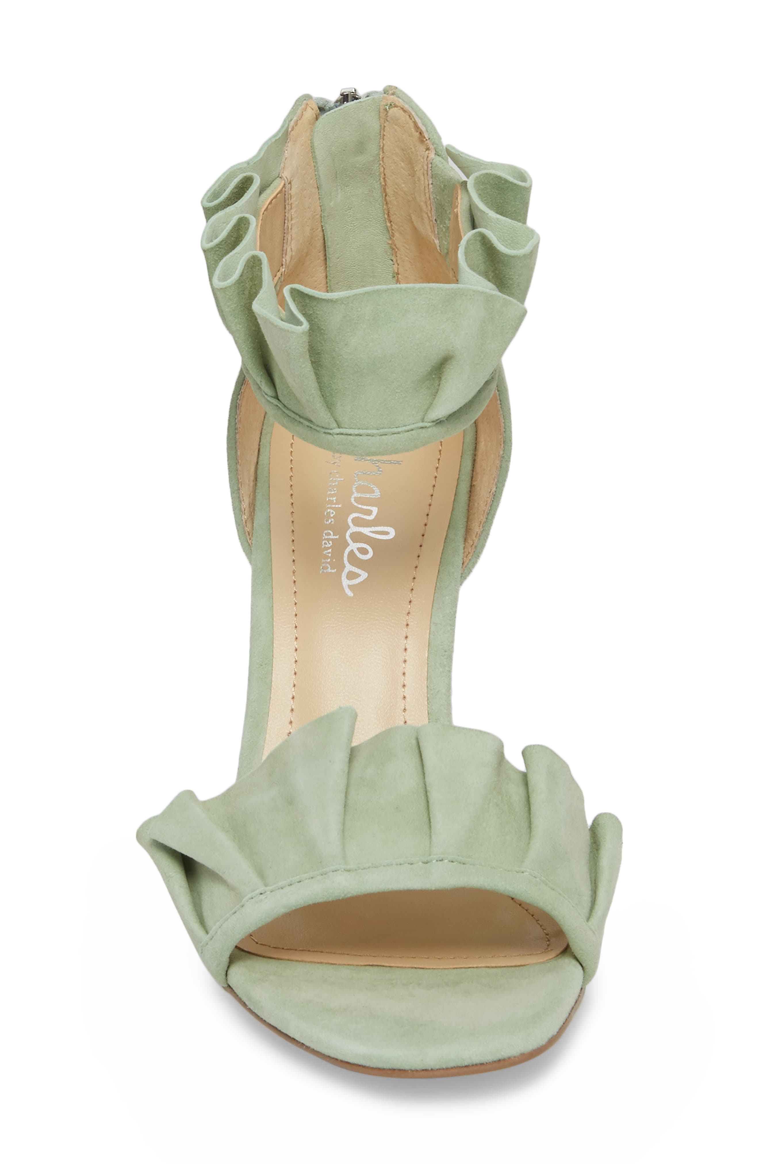 Haley Ruffle Sandal,                             Alternate thumbnail 4, color,                             MINT SUEDE