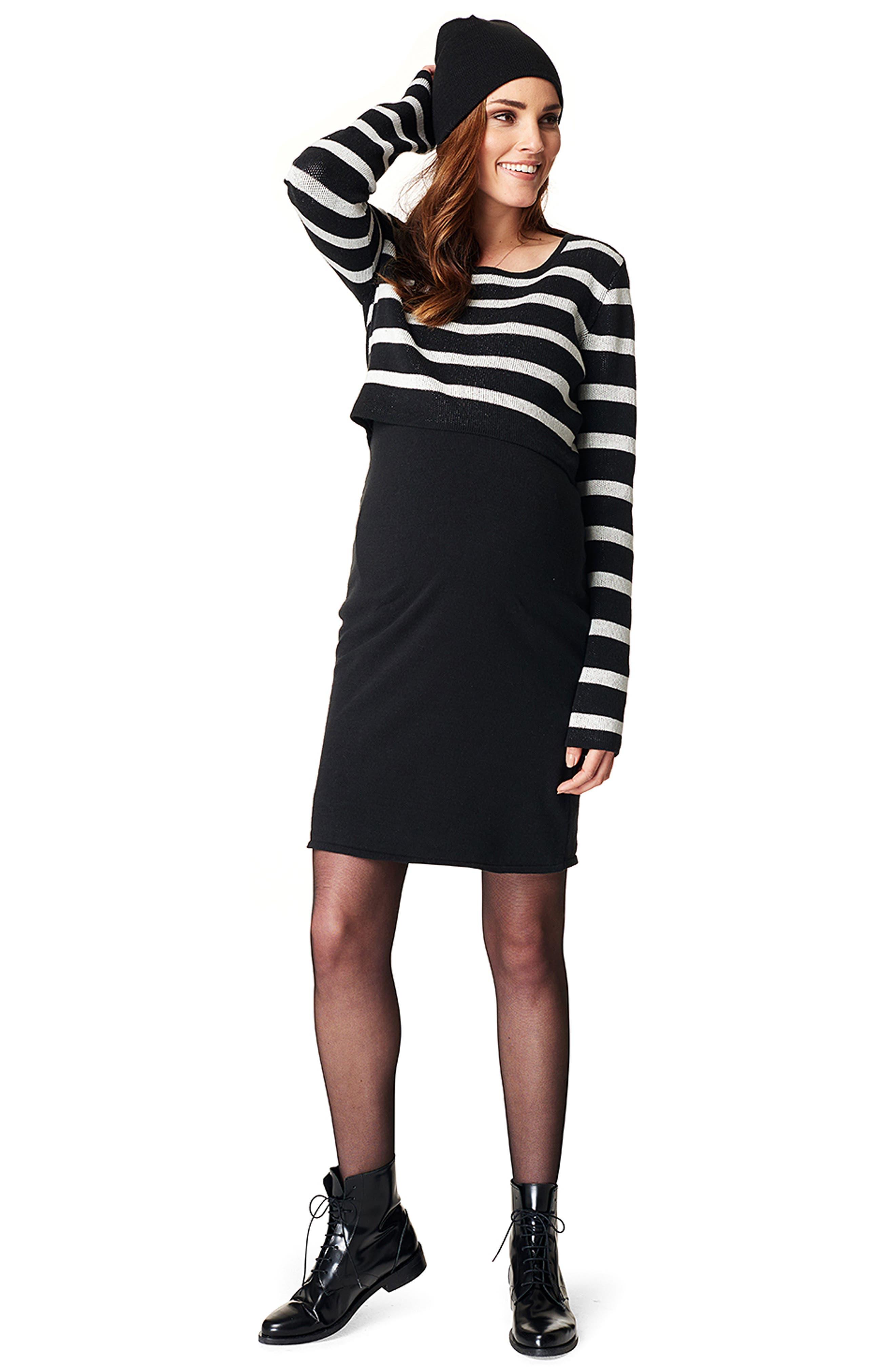 Imara Nursing/Maternity Dress,                             Alternate thumbnail 5, color,                             BLACK