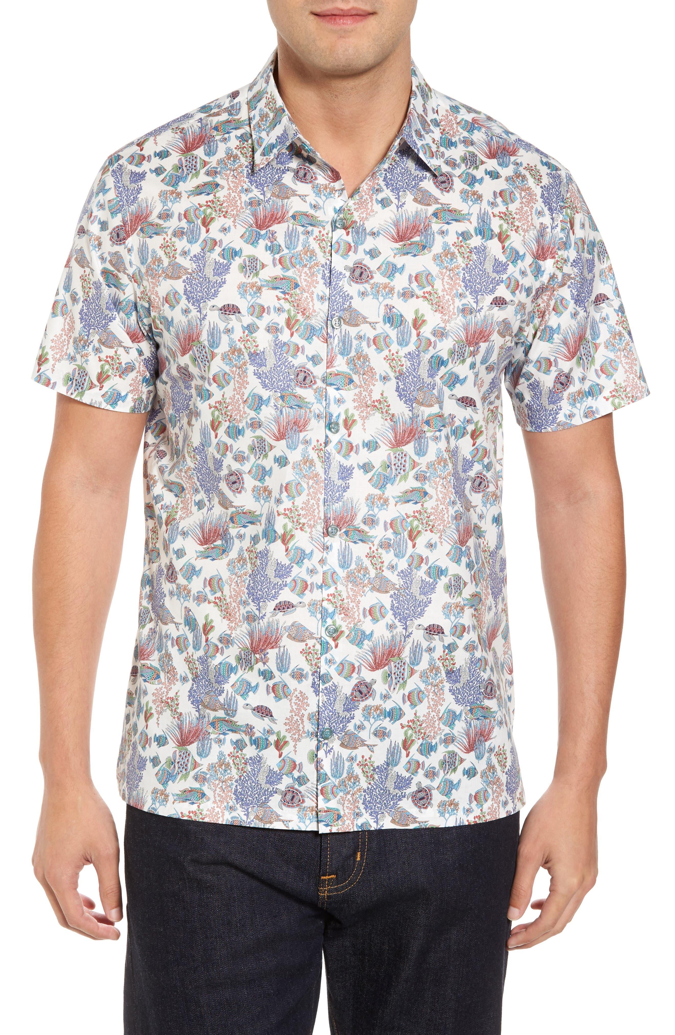 Aquaculture Slim Fit Camp Shirt,                         Main,                         color, 100