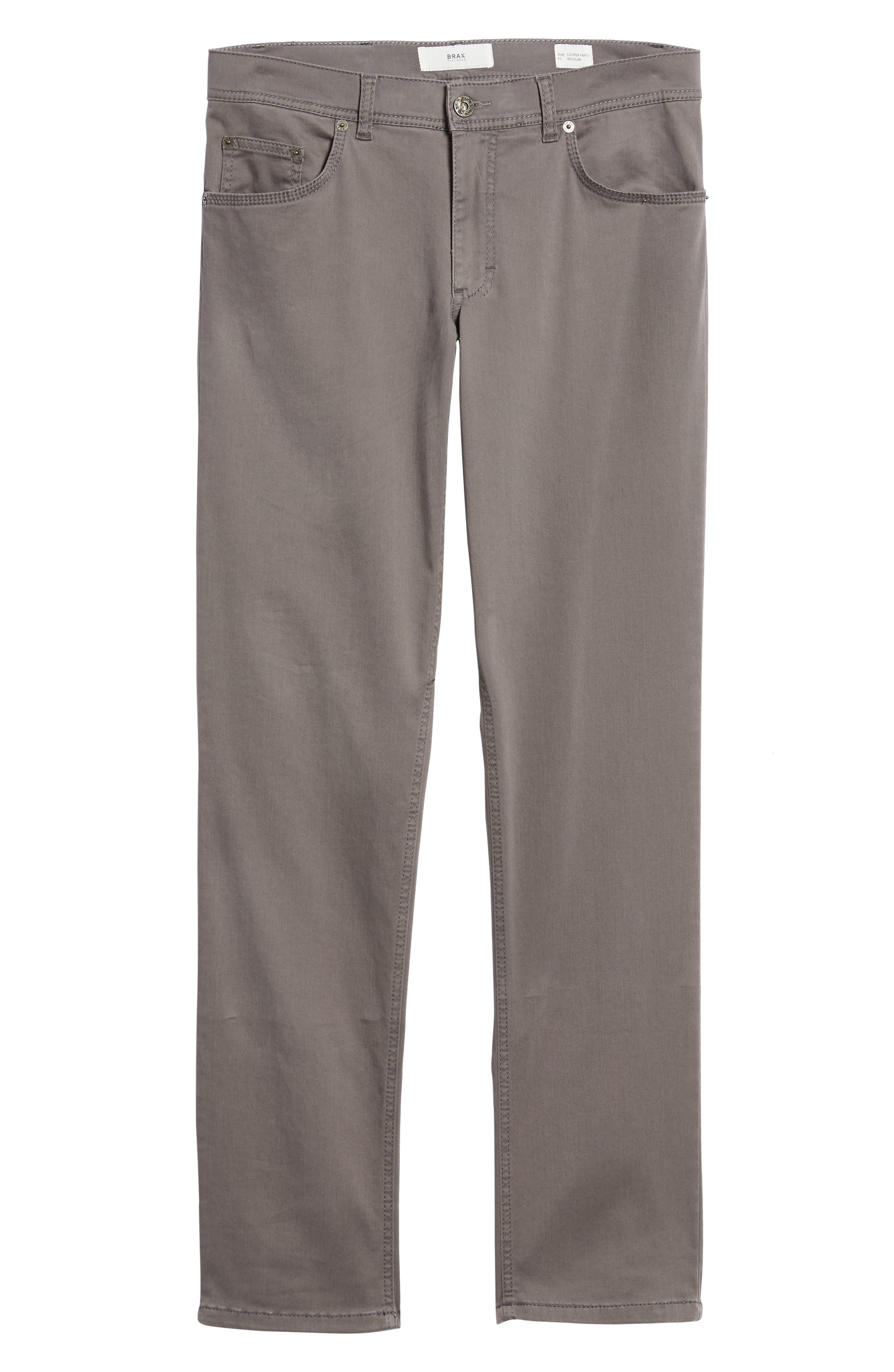 BRAX,                             Cooper Prestige Stretch Cotton Pants,                             Alternate thumbnail 6, color,                             GRAPHITE