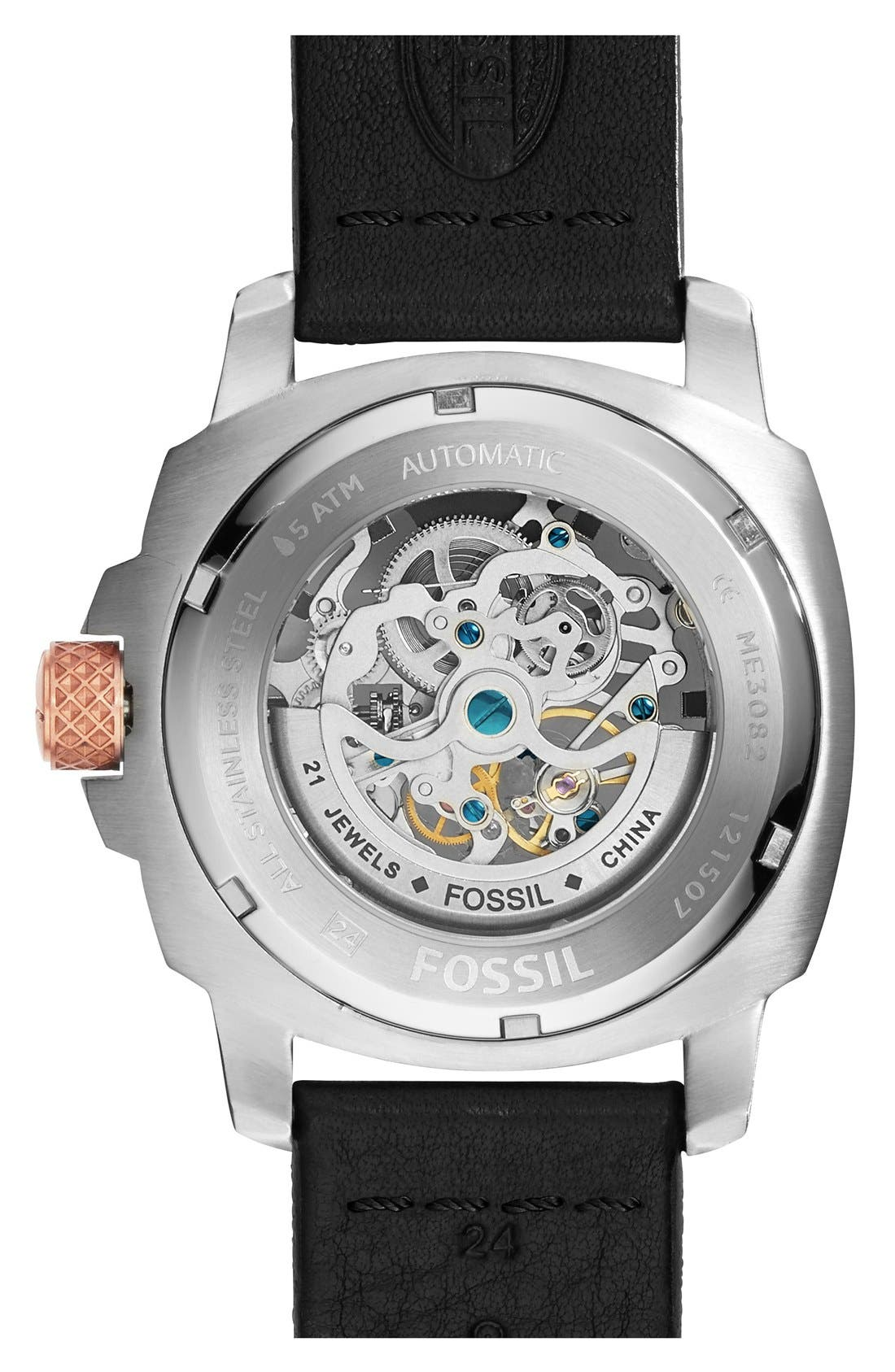 'Modern Machine' Skeleton Dial Leather Strap Watch, 50mm,                             Alternate thumbnail 3, color,                             001