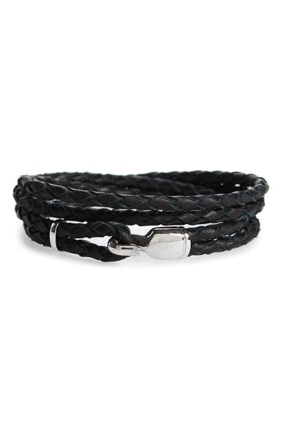 Miansai Accessories TRICE BRAIDED LEATHER & STERLING SILVER BRACELET