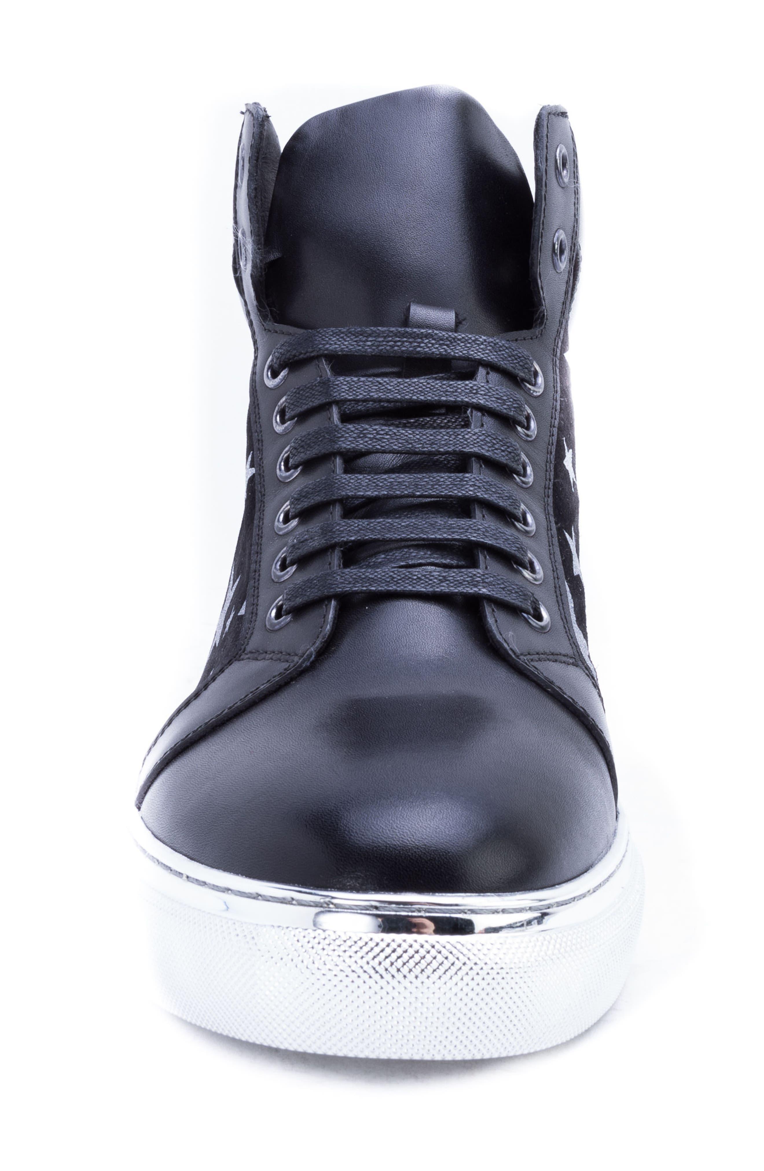 Garner Sneaker,                             Alternate thumbnail 4, color,                             SILVER LEATHER/ SUEDE