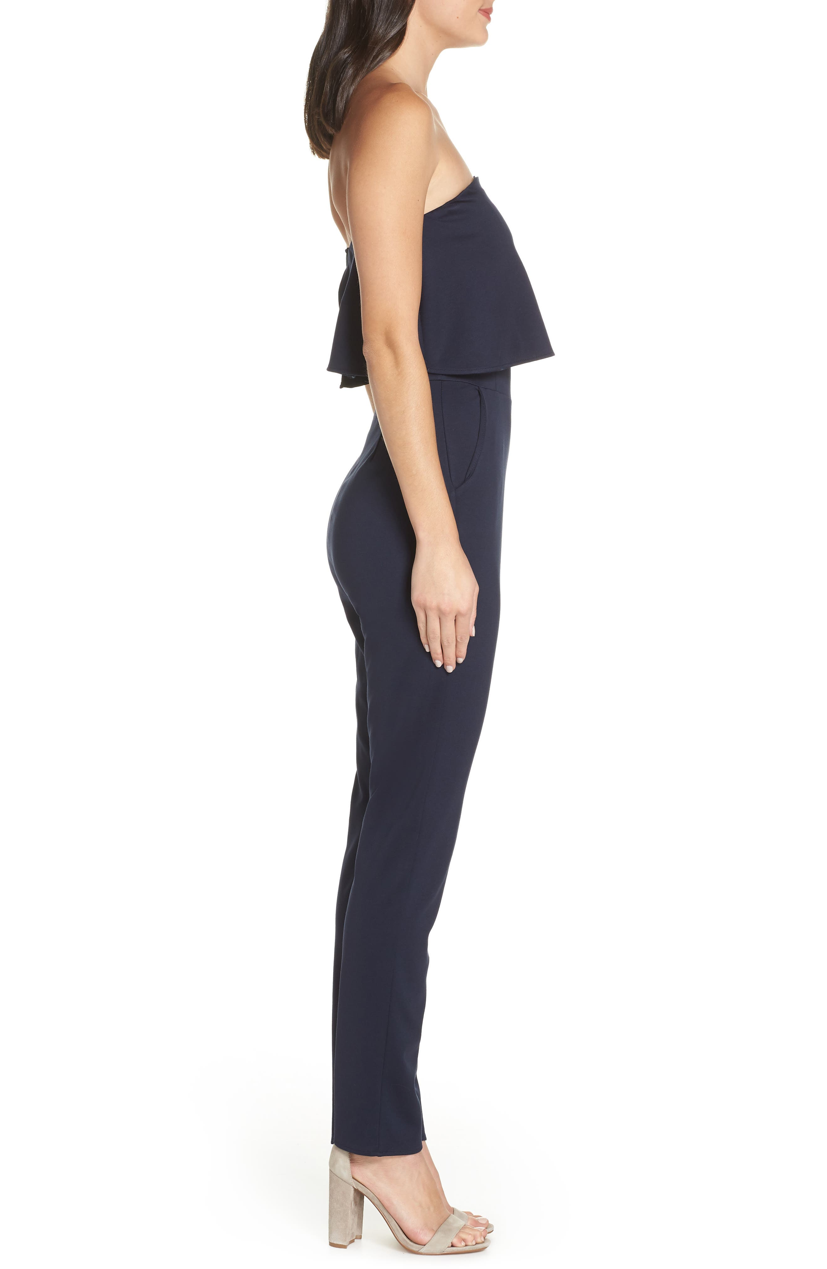 Strapless Jumpsuit,                             Alternate thumbnail 3, color,                             NAVY