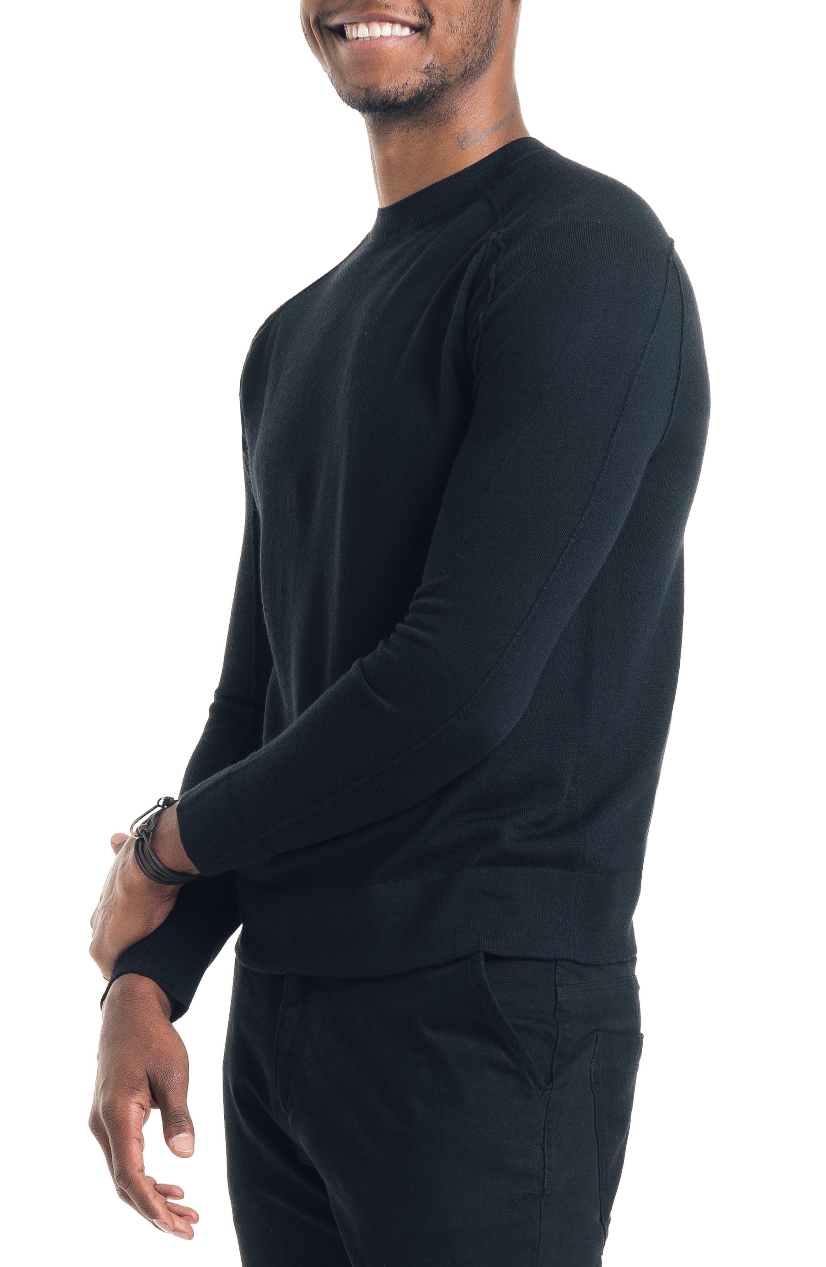 Modern Slim Fit Merino Wool Sweater,                             Alternate thumbnail 3, color,                             BLACK