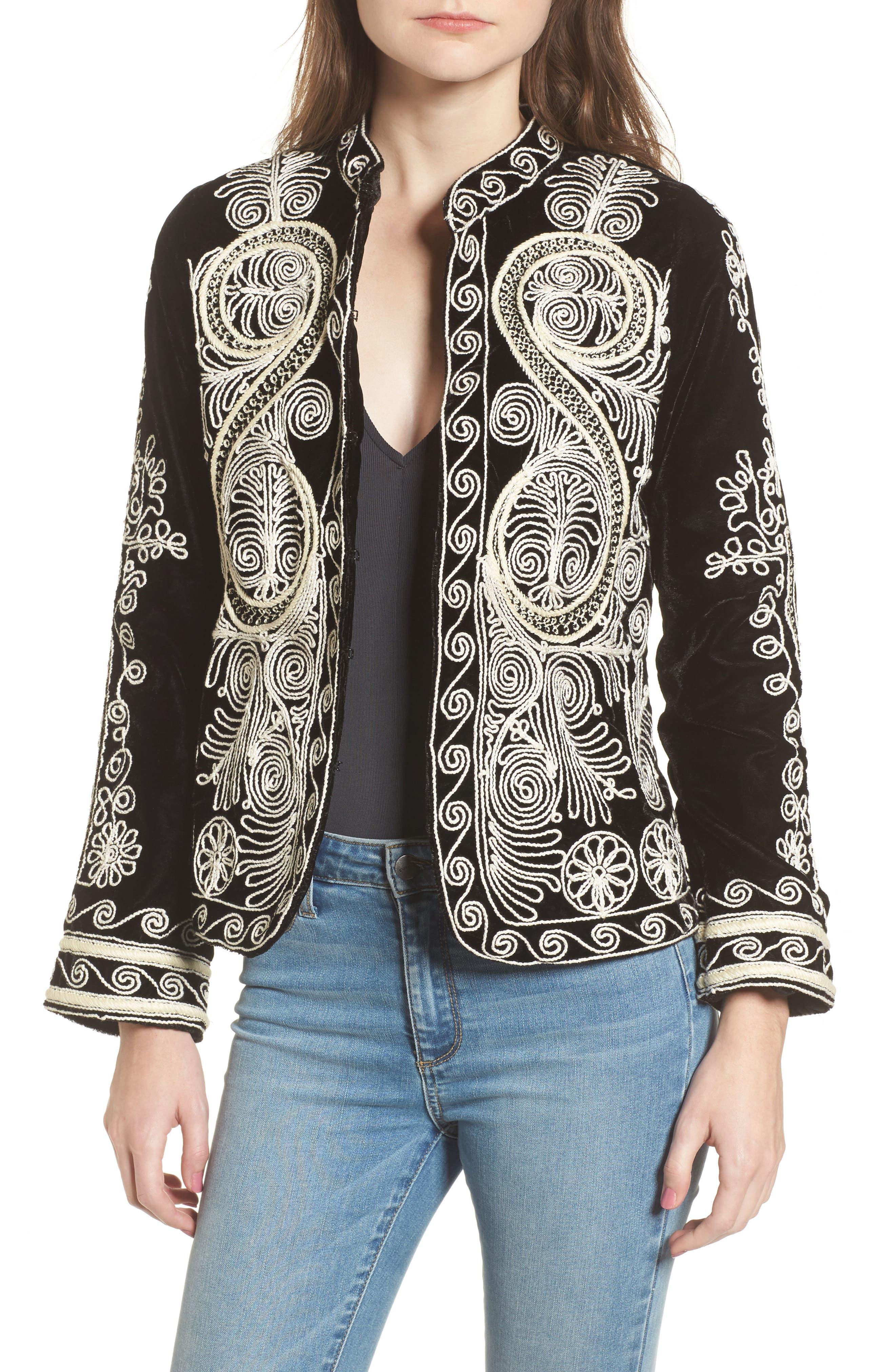 Embroidered Velvet Jacket,                         Main,                         color, 001