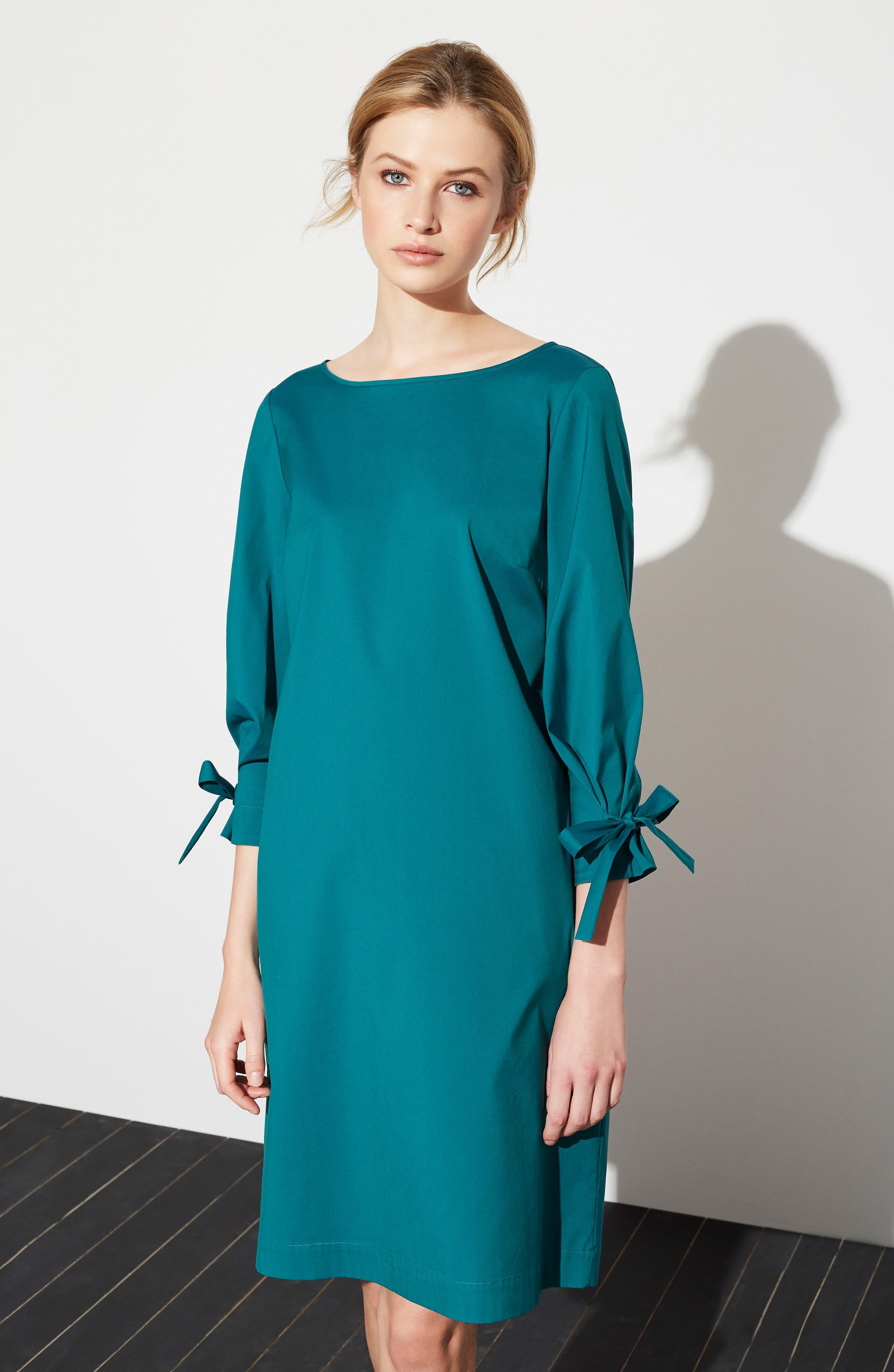 Paige Cotton Blend Dress,                             Alternate thumbnail 4, color,                             ATLANTIC TEAL