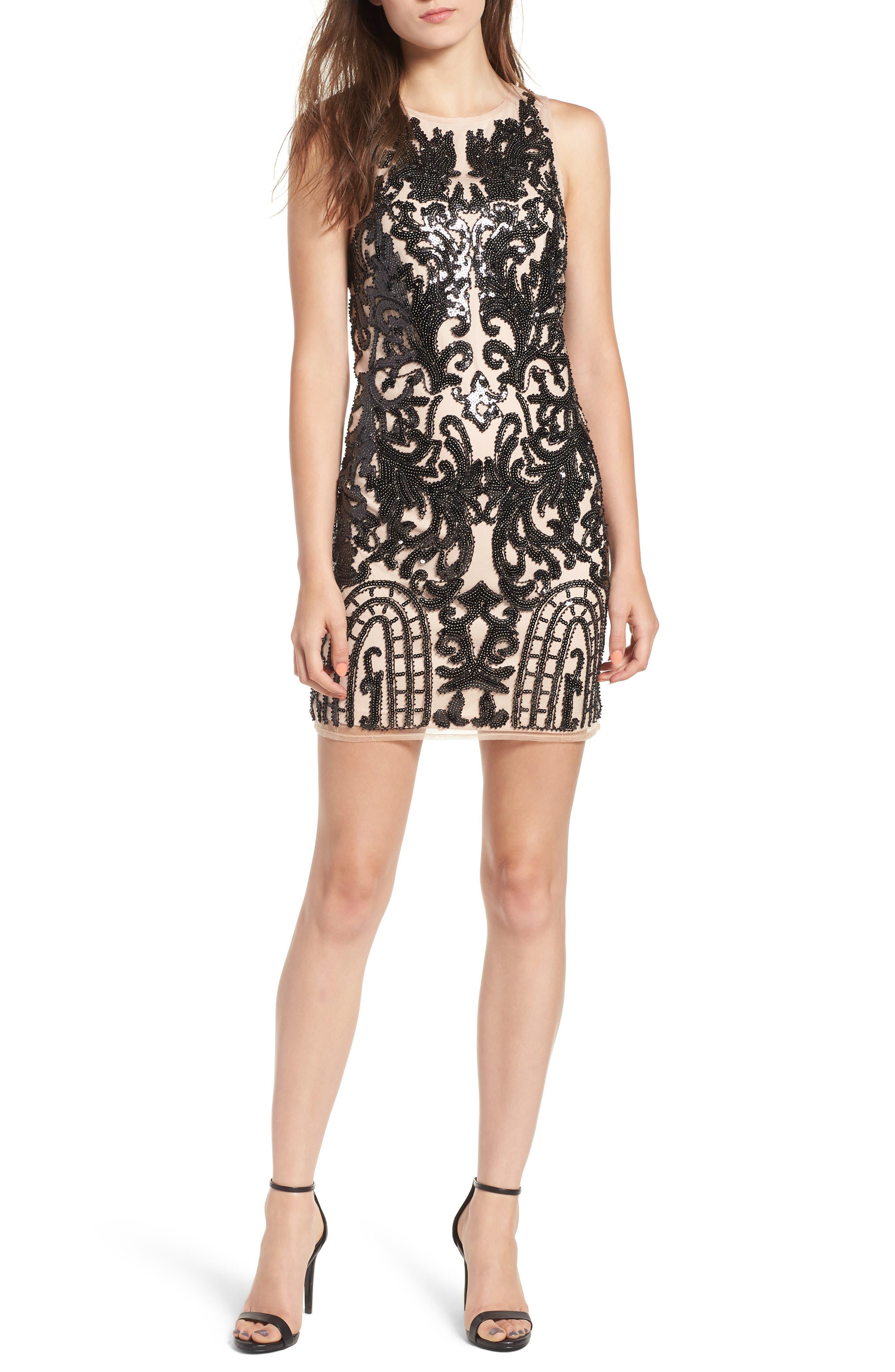 Sequin Embellished Dress,                         Main,                         color, BLACK