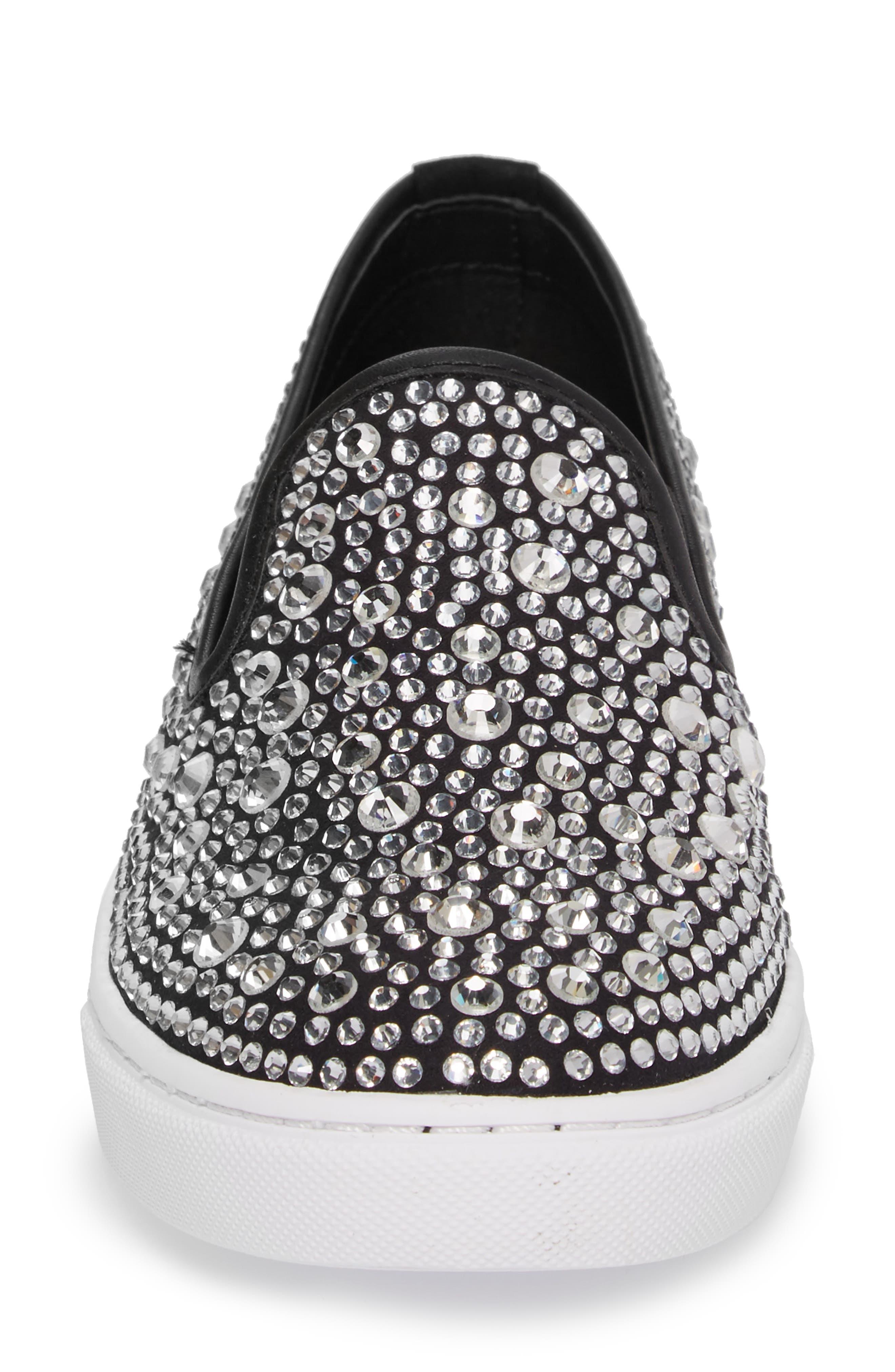Evada Crystal Embellished Slip-On Sneaker,                             Alternate thumbnail 4, color,                             040