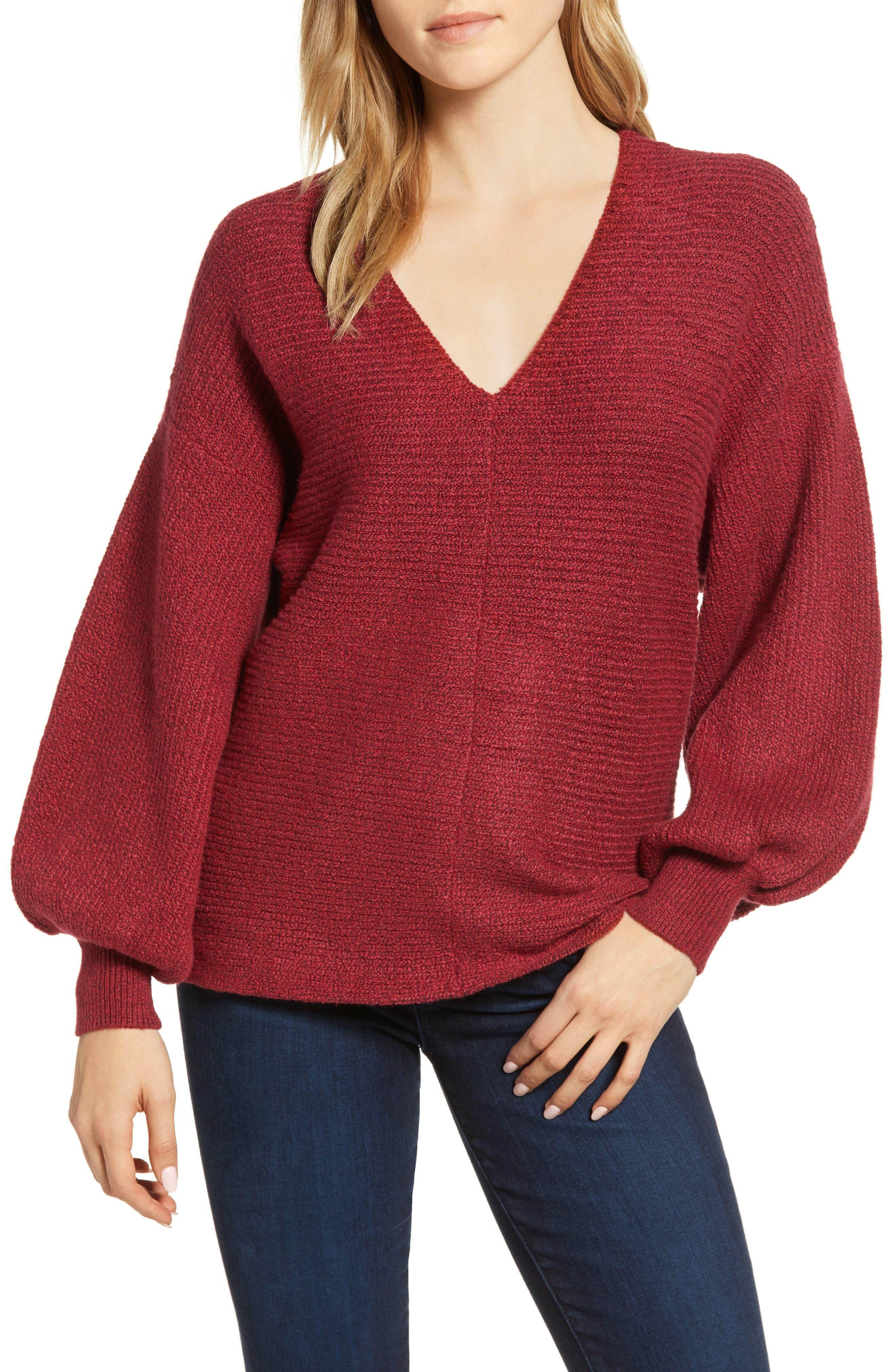 Blouson Sleeve V-Neck Sweater,                             Main thumbnail 1, color,                             641