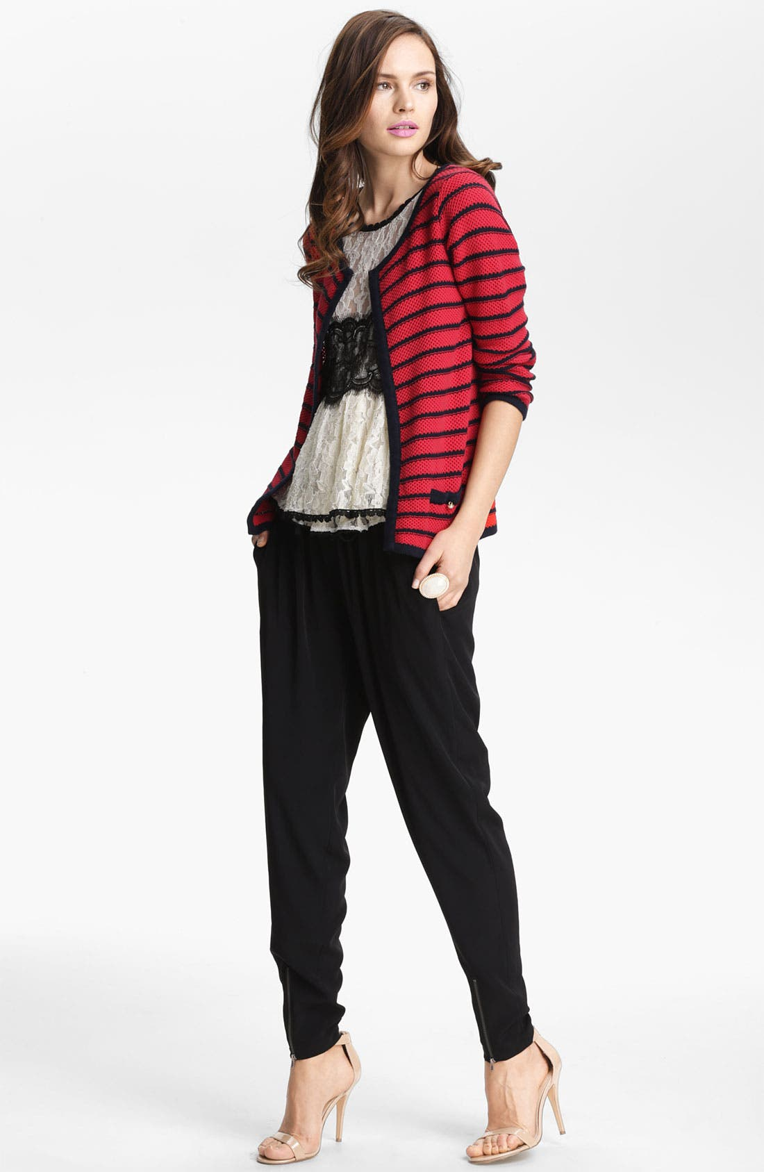 LEITH,                             Woven Zip Cuff Track Pants,                             Alternate thumbnail 2, color,                             001