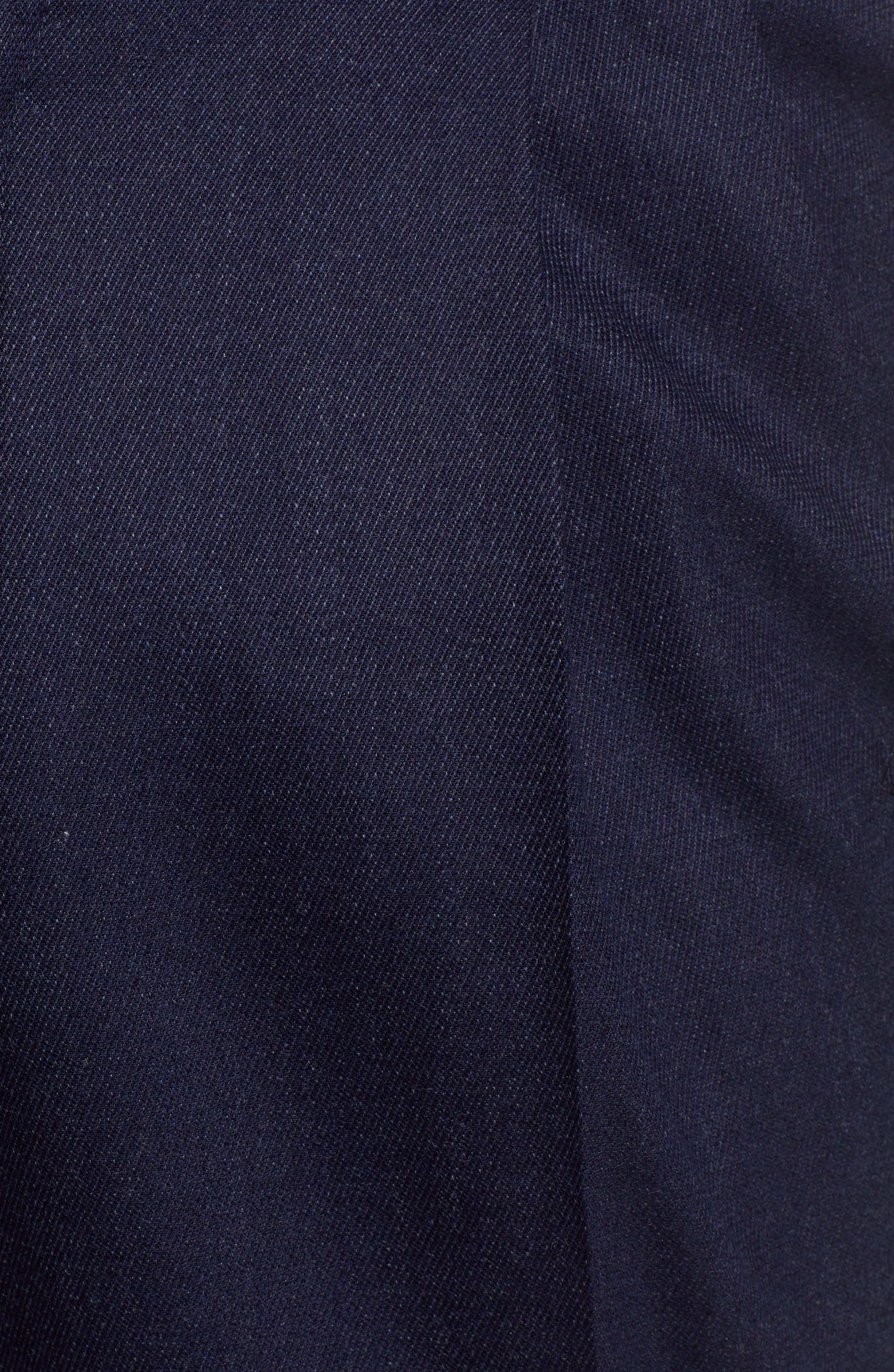 Manufacturing Pleated Stretch Solid Wool & Cotton Trousers,                             Alternate thumbnail 5, color,                             BLUE
