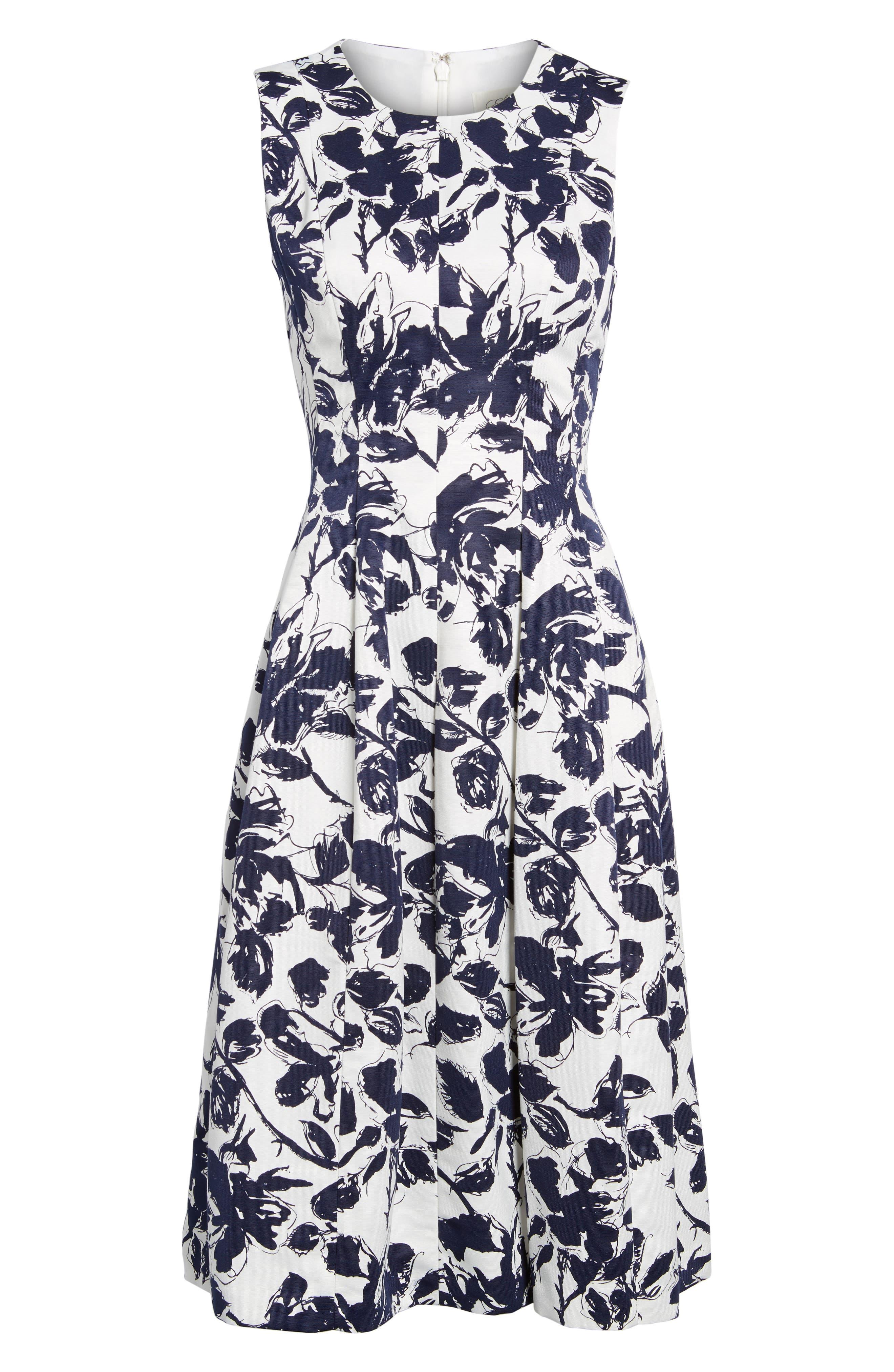 Floral Print Faille Midi Dress,                         Main,                         color, 407