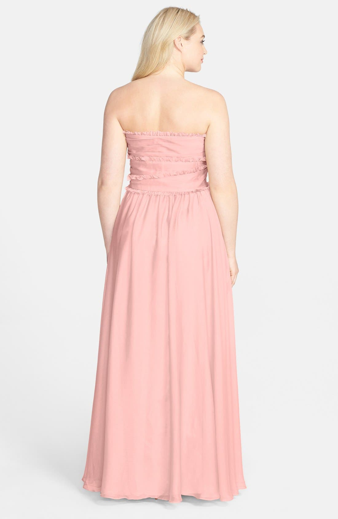 ML Monique Lhuillier Bridesmaids Strapless Chiffon Gown,                             Alternate thumbnail 44, color,