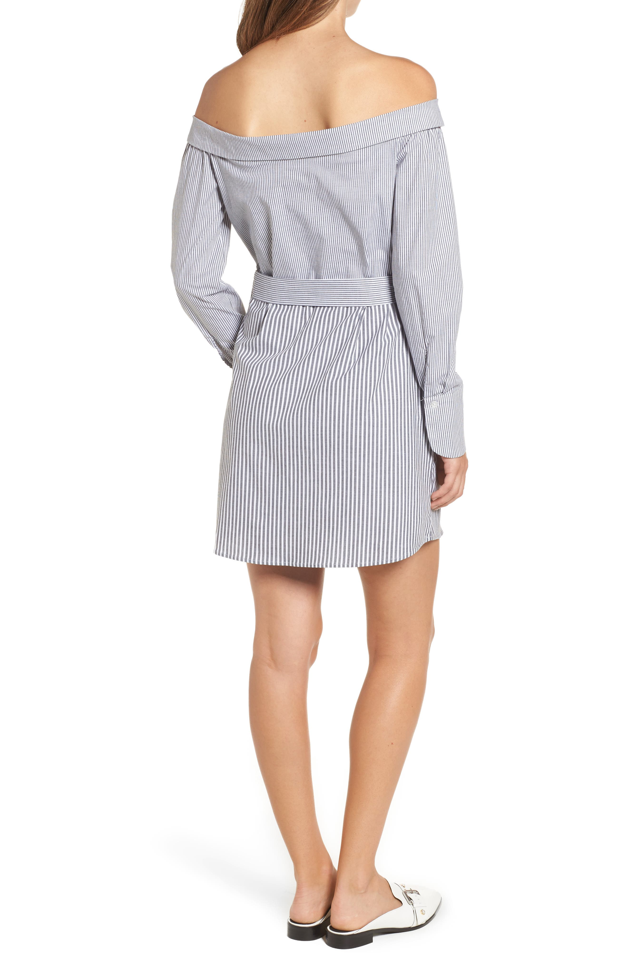 Portrait Neck Stripe Poplin Shirtdress,                             Alternate thumbnail 2, color,                             002