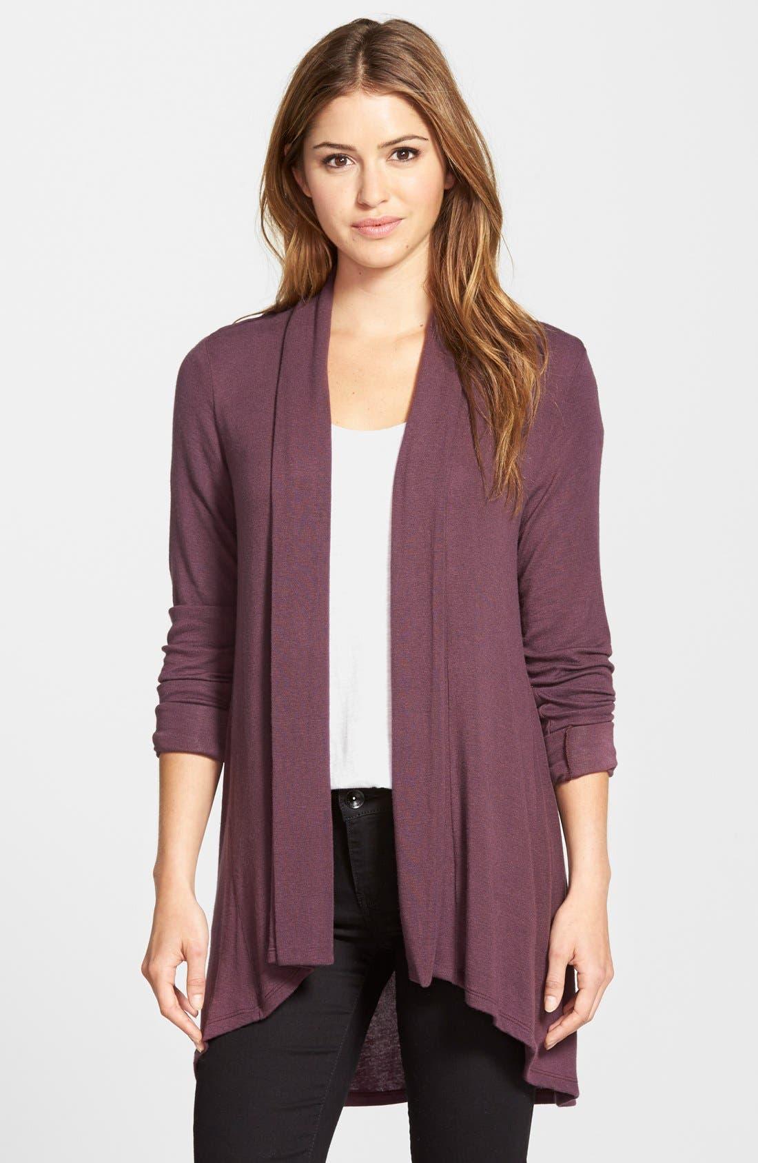High/Low Jersey Cardigan,                         Main,                         color, BURGUNDY STEM