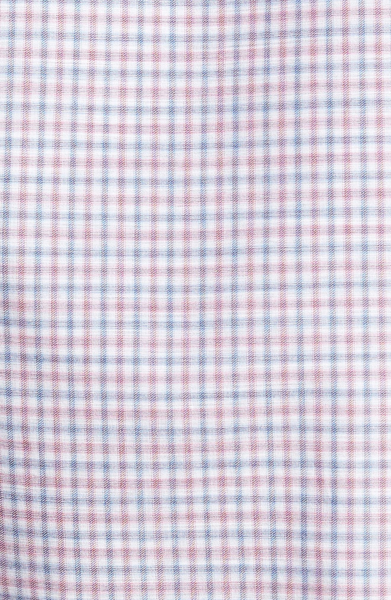Trim Fit Mini Plaid Sport Shirt,                             Alternate thumbnail 5, color,                             650