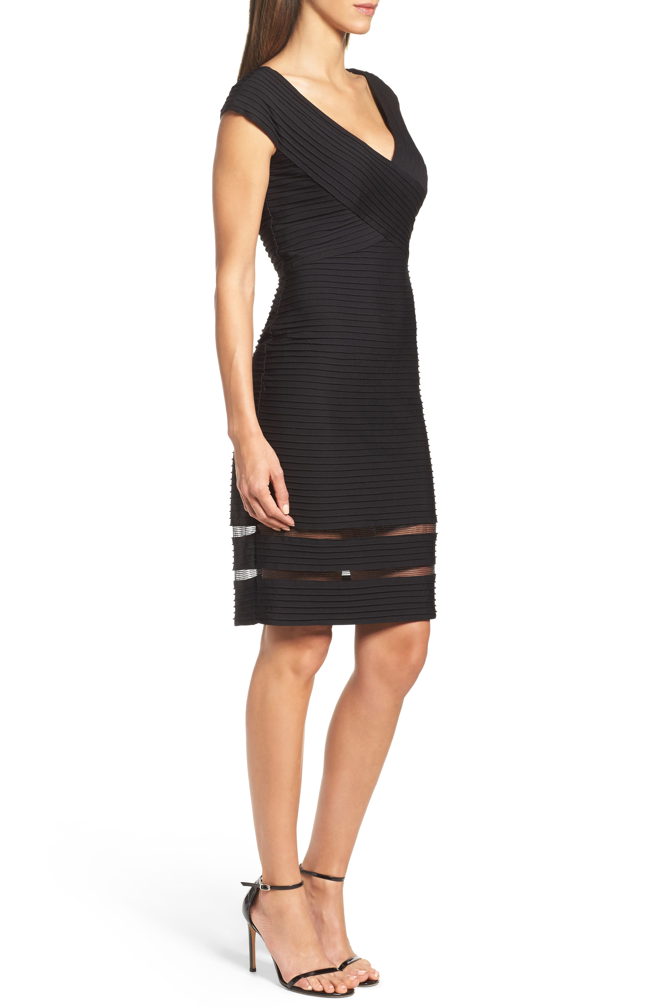 Mixed Media Sheath Dress,                             Alternate thumbnail 3, color,                             001