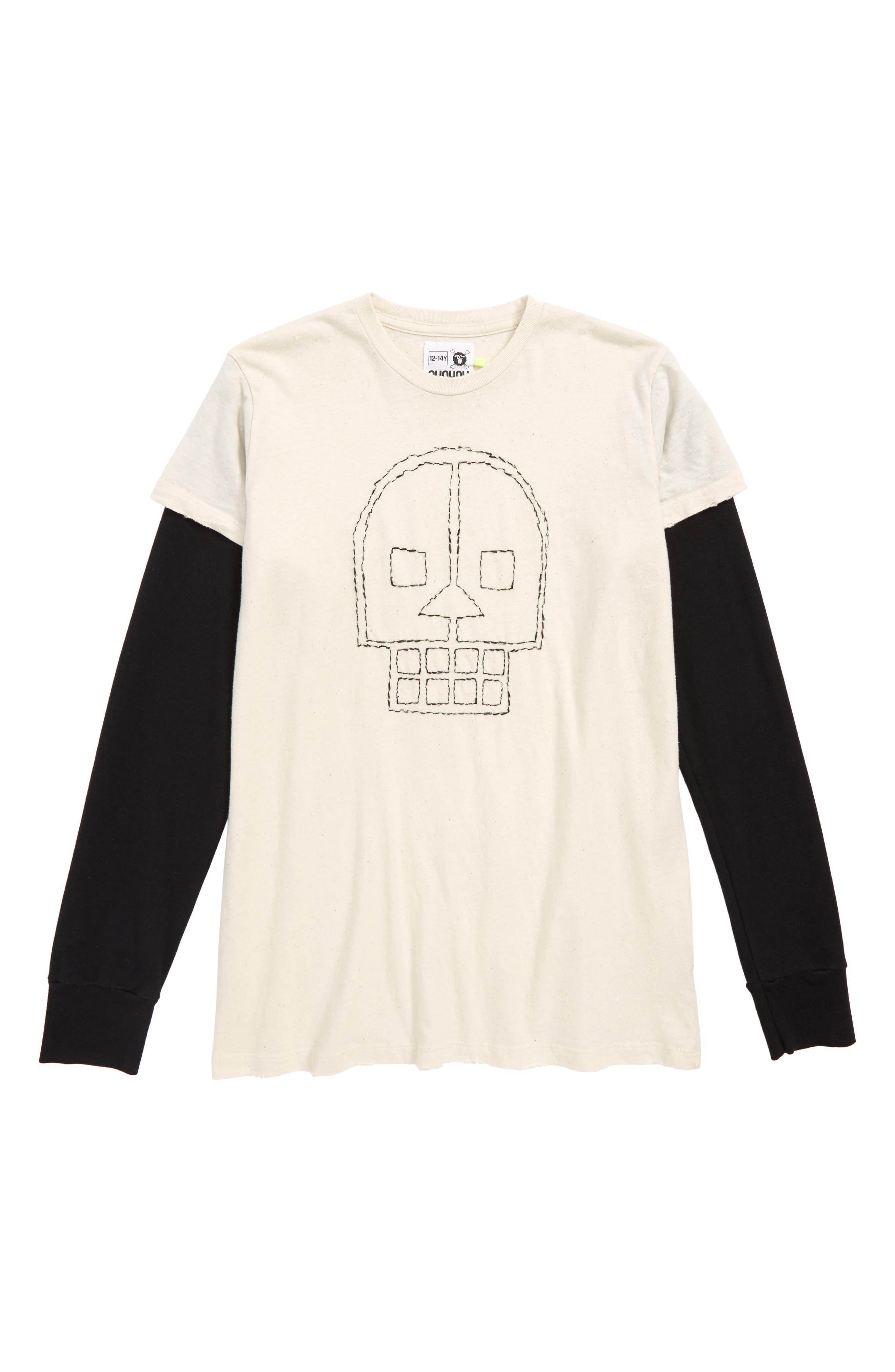 Embroidered Skull Layered Shirt,                         Main,                         color, NATURAL