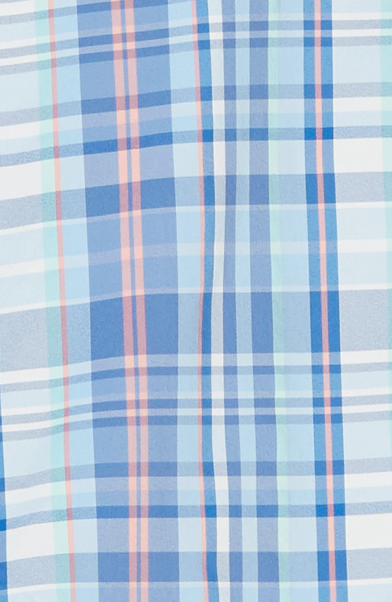 Siesta Intercoastal Regular Fit Plaid Performance Sport Shirt,                             Alternate thumbnail 6, color,                             SKY BLUE