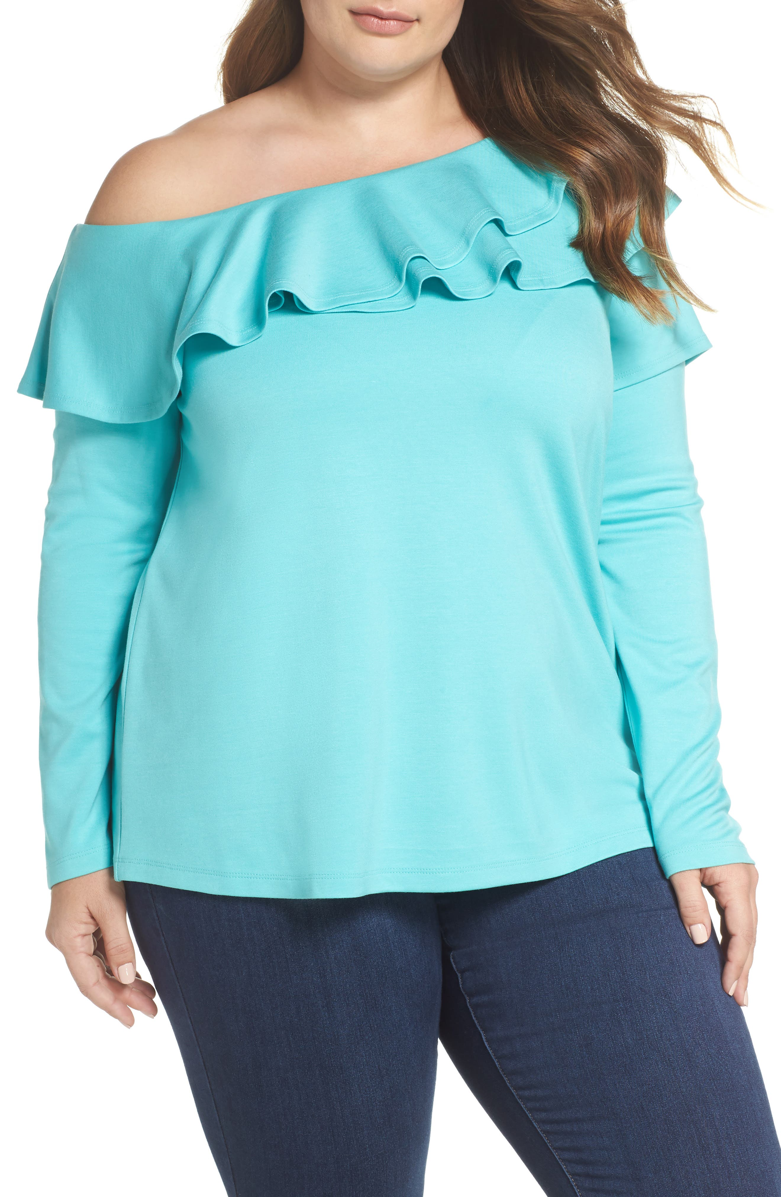 x Living in Yellow Elizabeth One-Shoulder Ruffle Top,                             Main thumbnail 2, color,